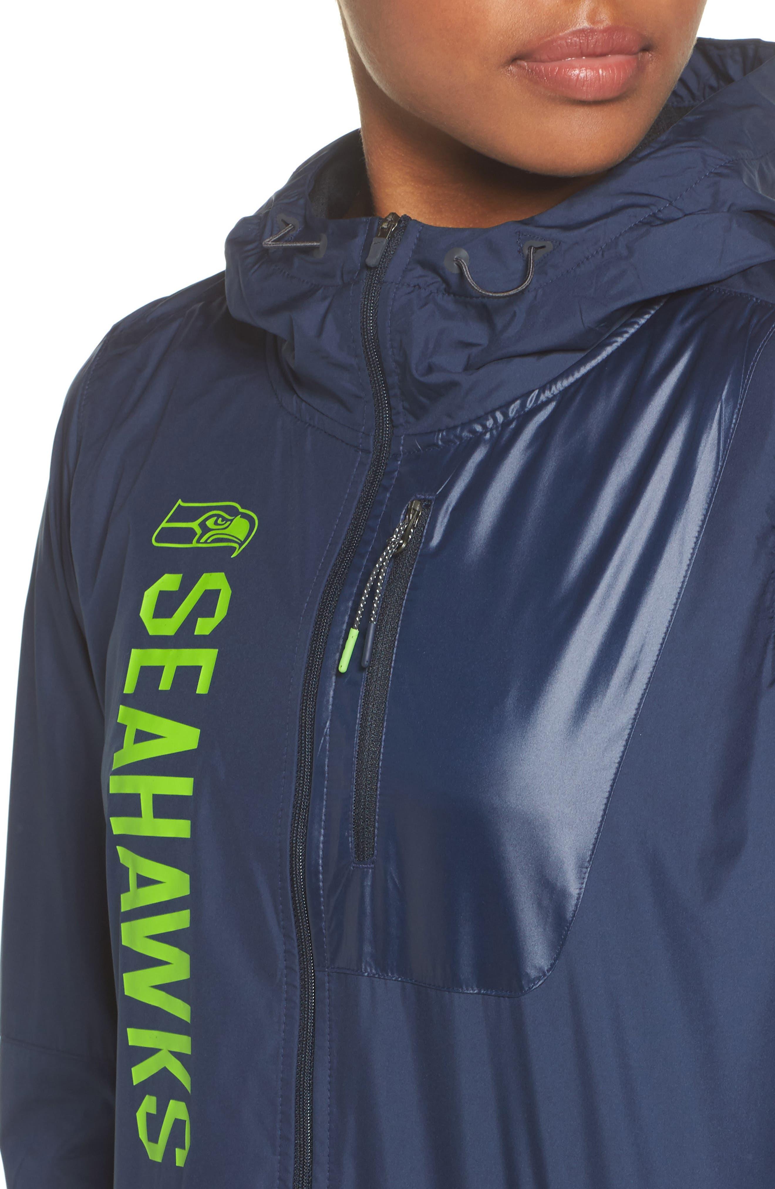 NFL Packable Water Resistant Jacket,                             Alternate thumbnail 4, color,                             College Navy/ Seahawks