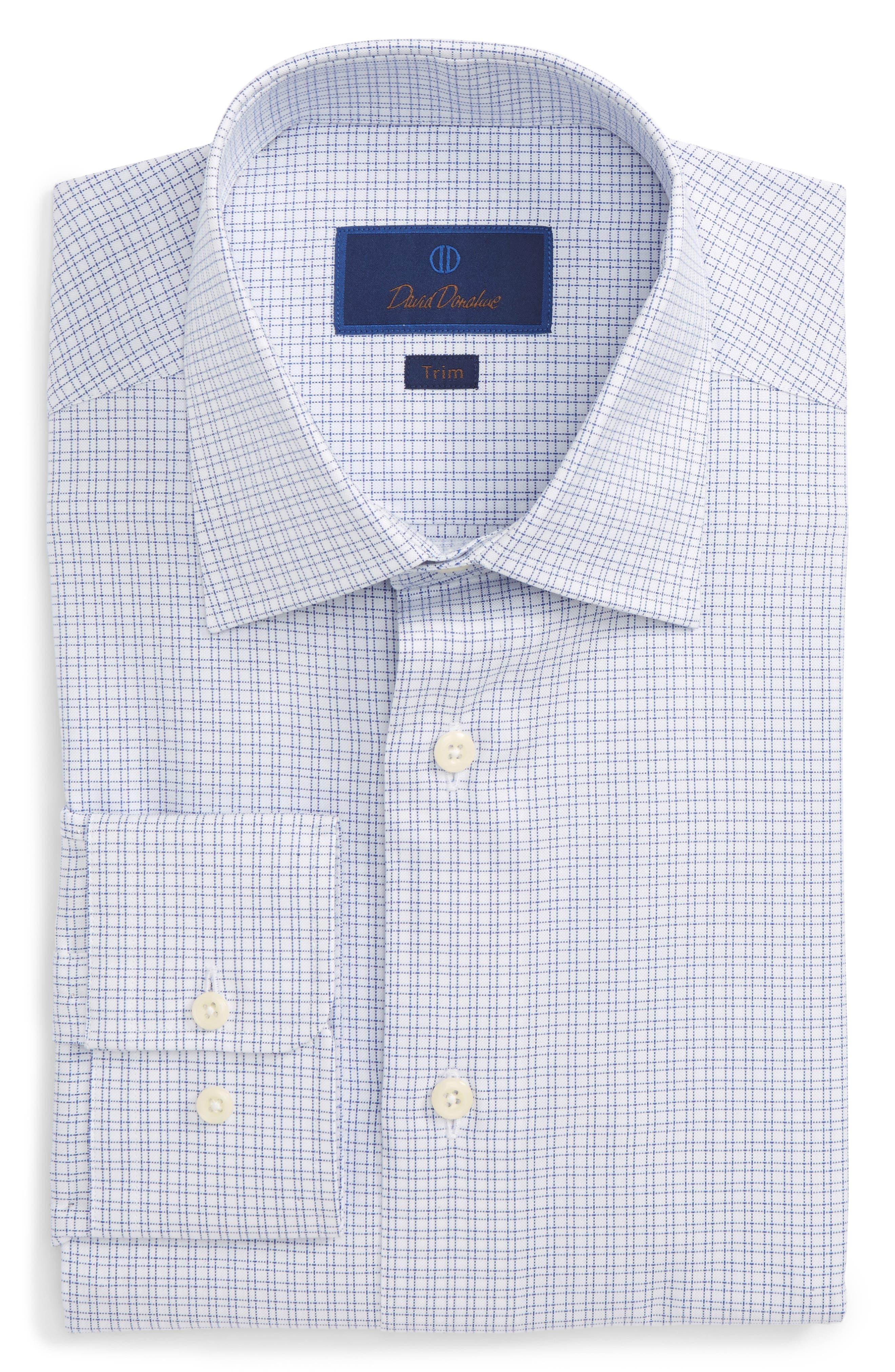 Trim Fit Check Dress Shirt,                         Main,                         color, Blue