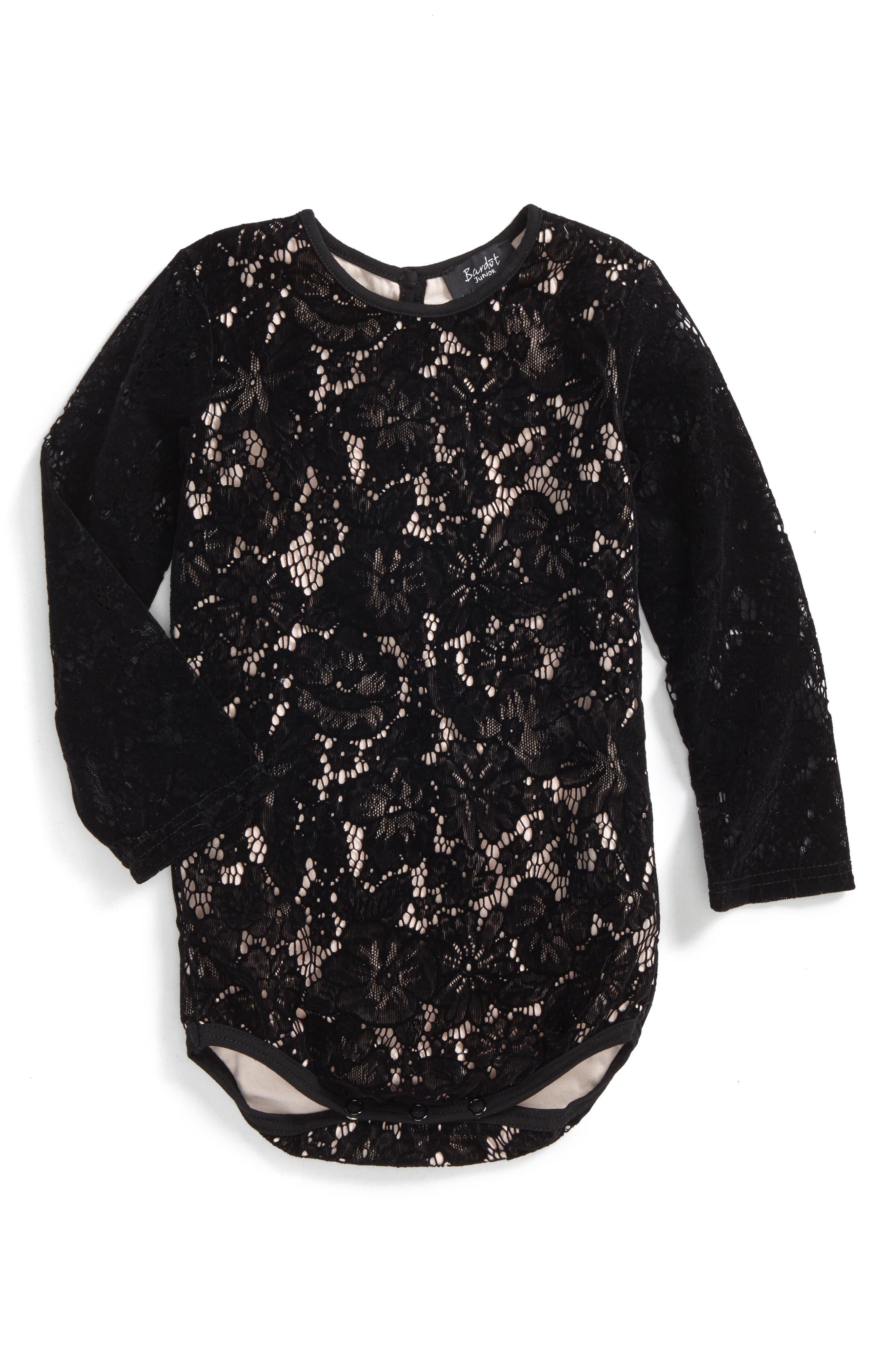 Alternate Image 1 Selected - Bardot Junior Lacey Bodysuit (Baby Girls & Toddler Girls)