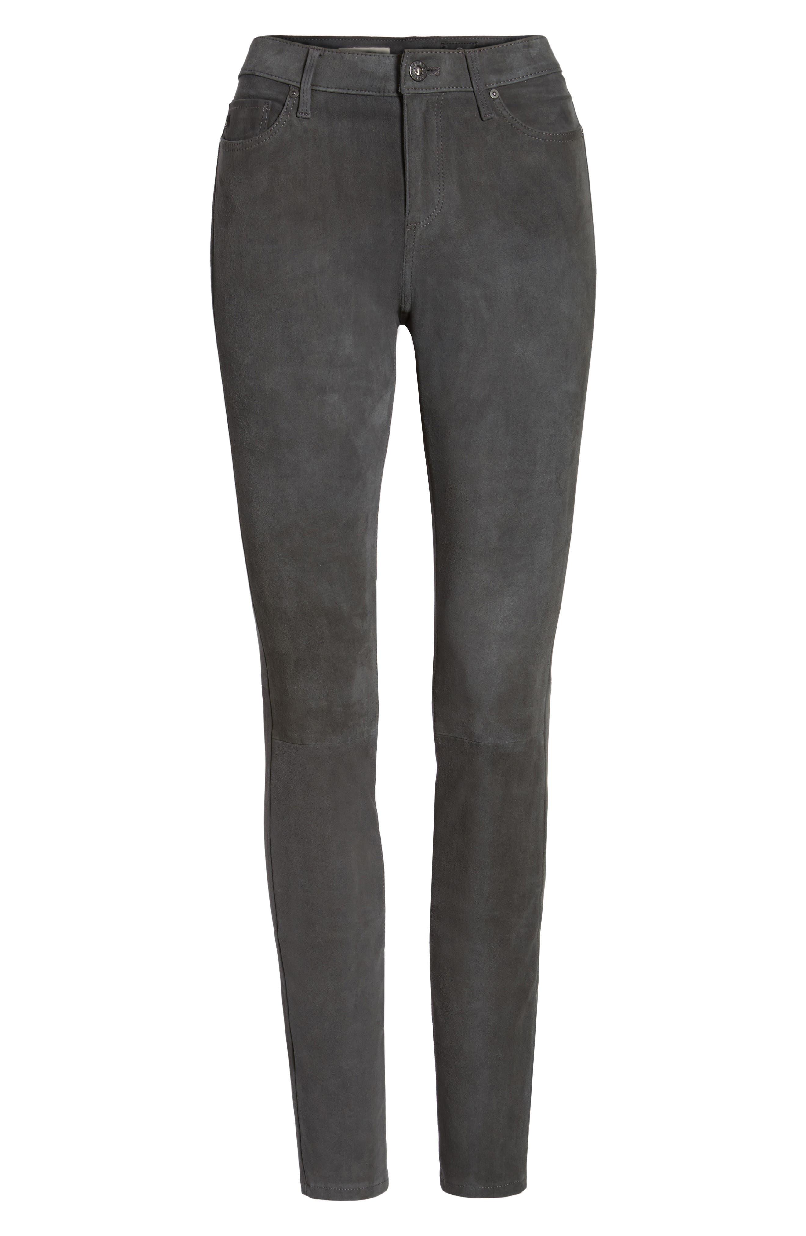 The Legging Super Skinny Suede Pants,                             Alternate thumbnail 6, color,                             Dark Slate