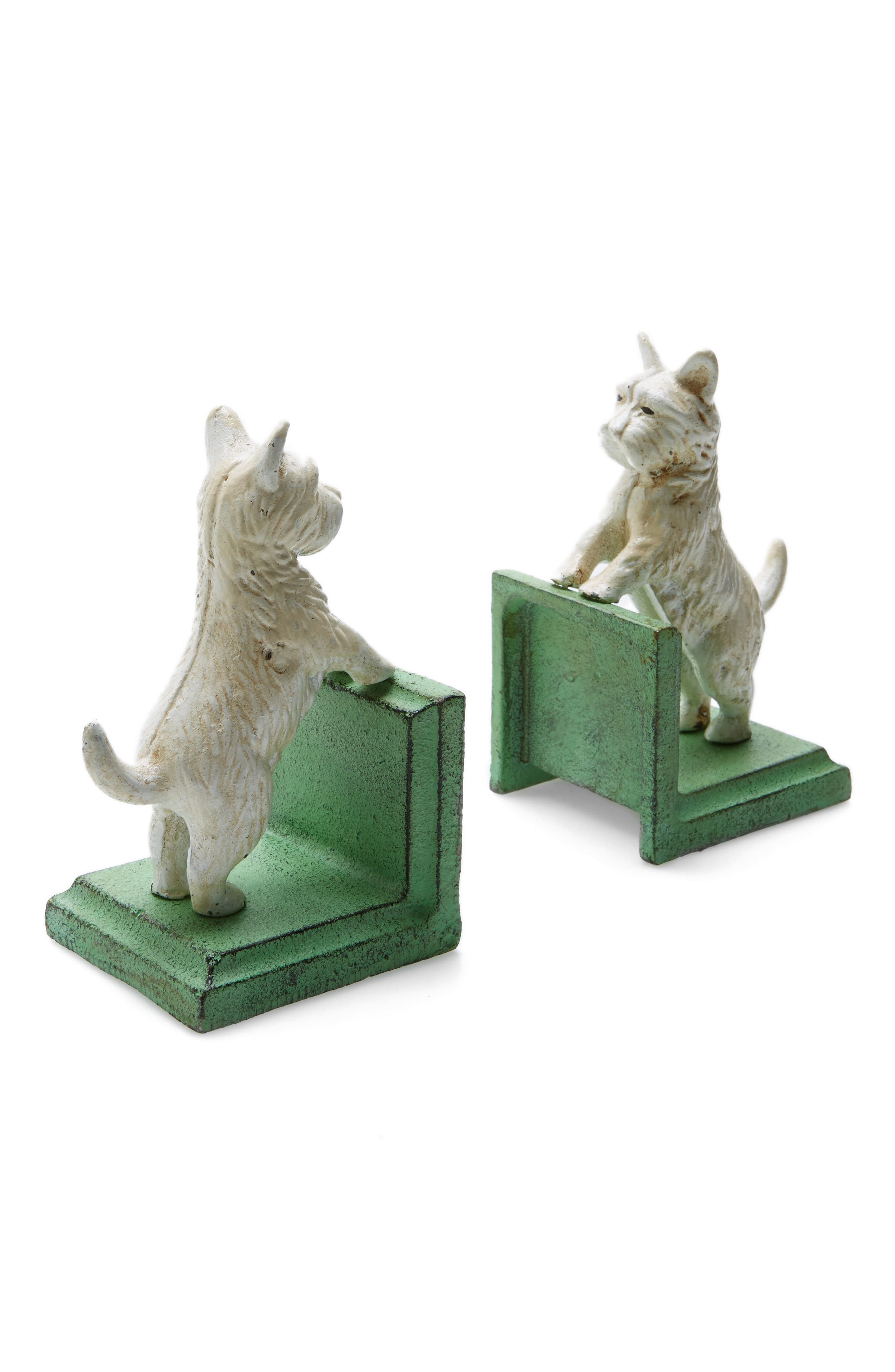 Westie Cast Iron Bookends,                         Main,                         color, White And Green