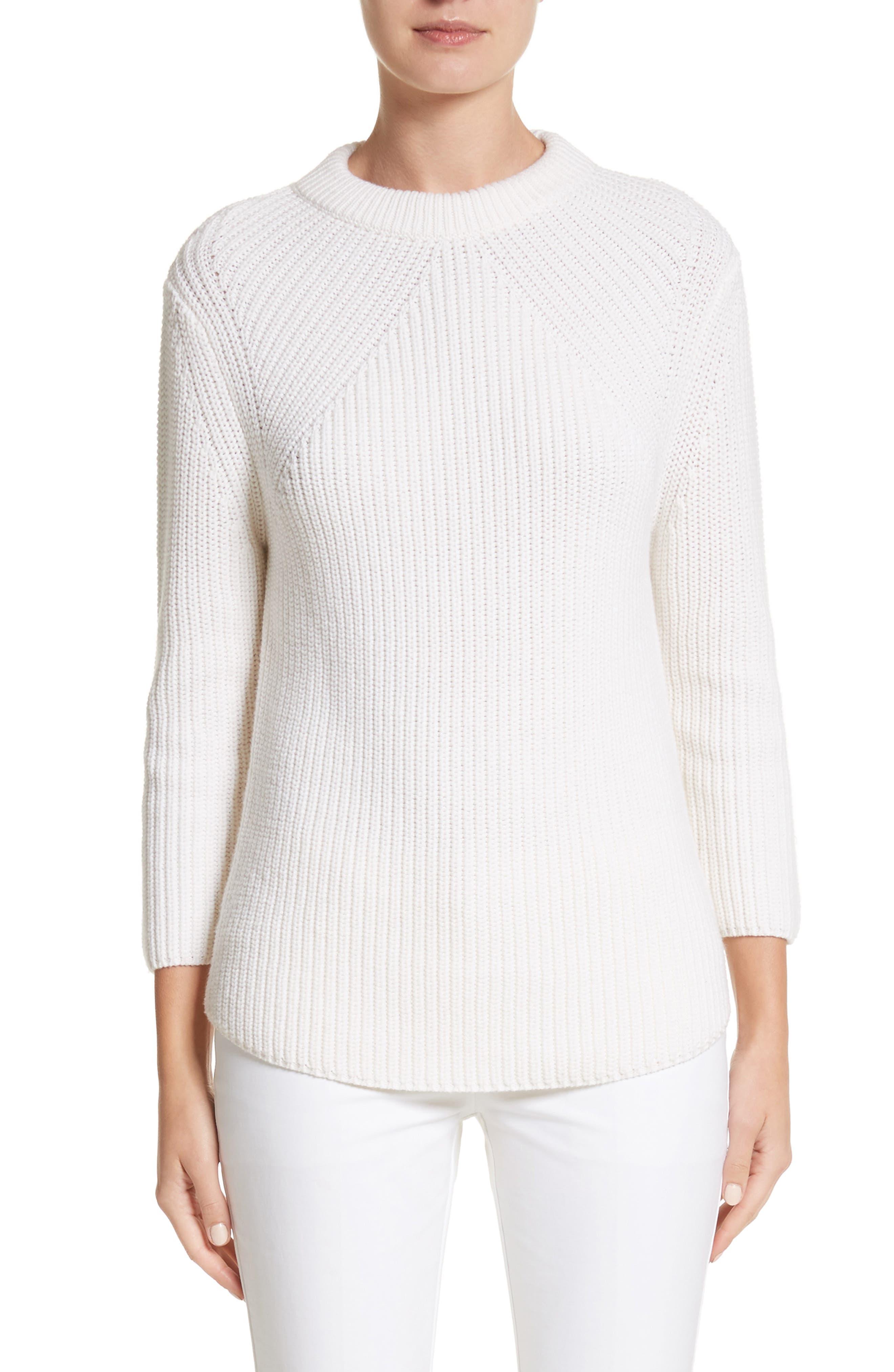 Merino Wool & Cotton Pullover,                         Main,                         color, White