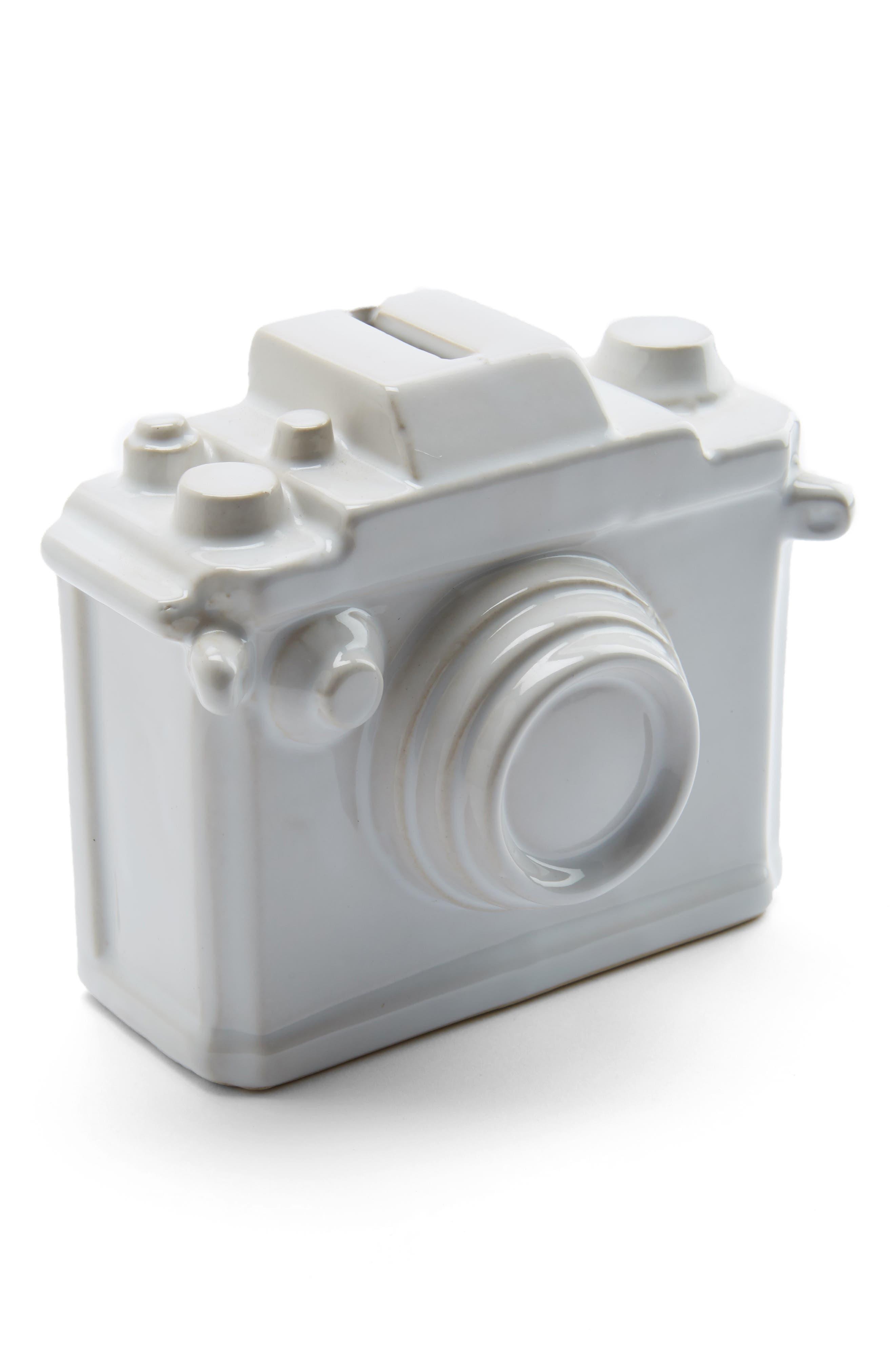Camera Ceramic Bank,                             Main thumbnail 1, color,                             Matte White