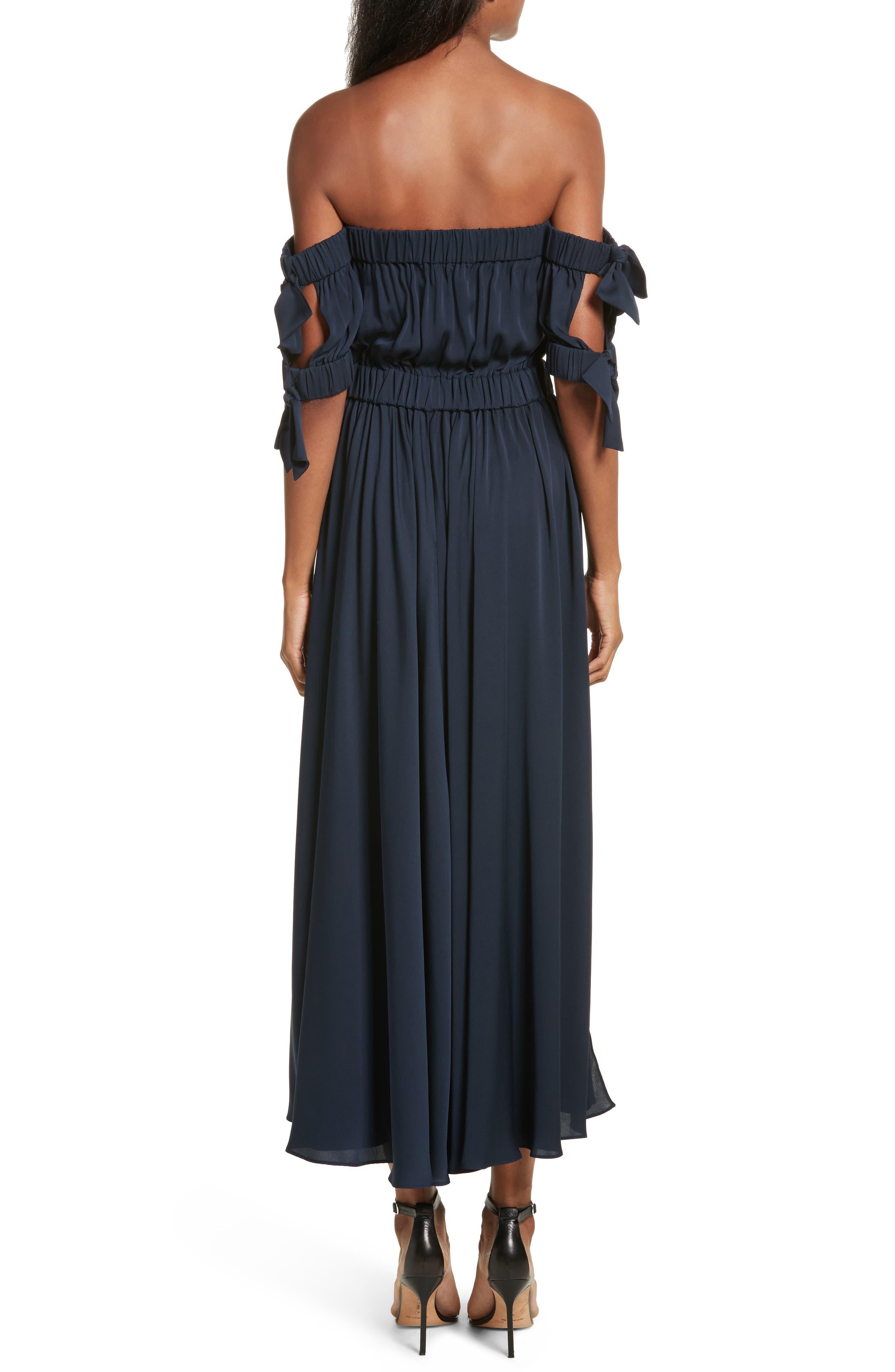 Zoey Stretch Silk Maxi Dress,                             Alternate thumbnail 2, color,                             Navy