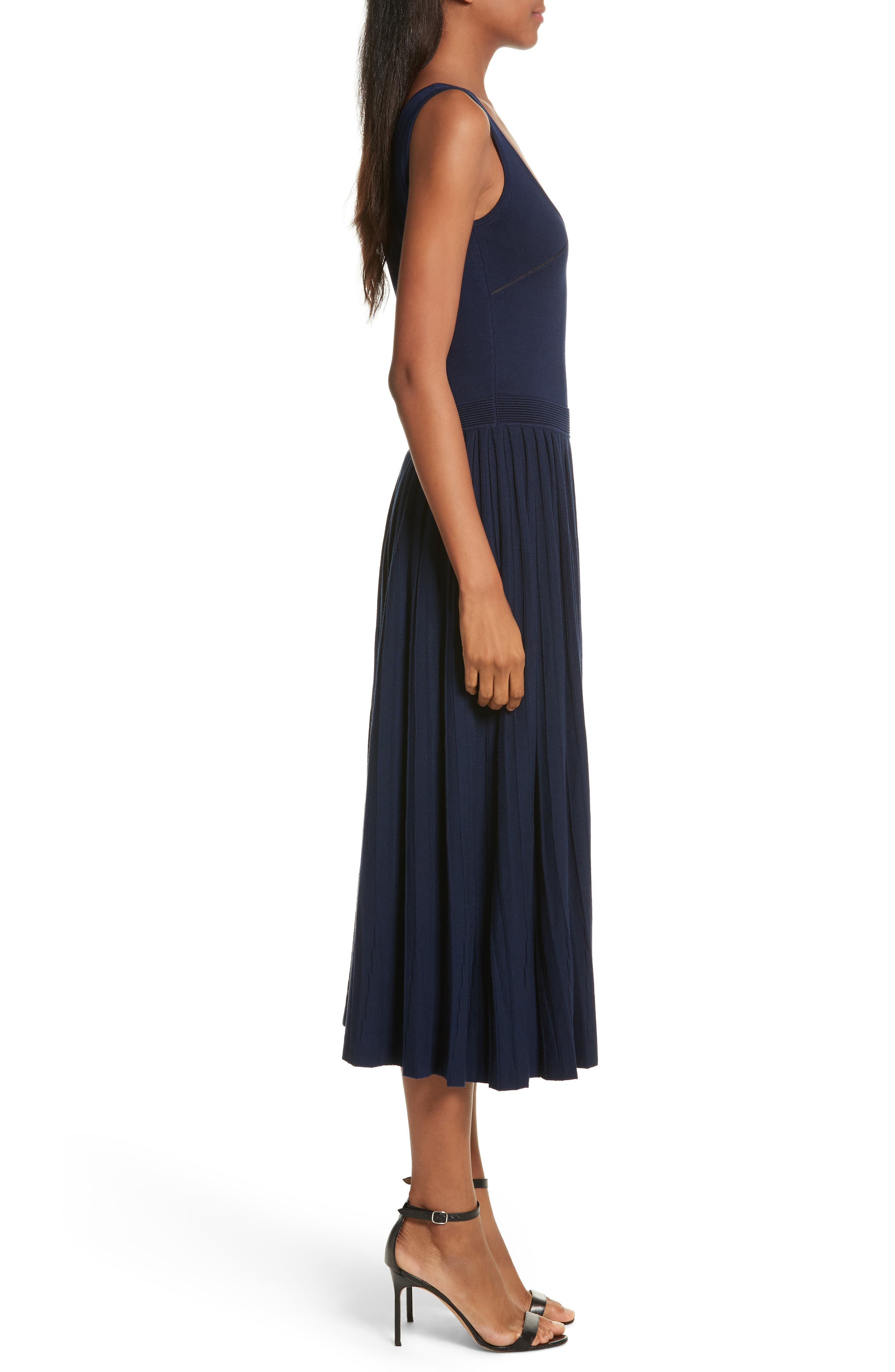 Ballet Neck Midi Dress,                             Alternate thumbnail 3, color,                             Navy