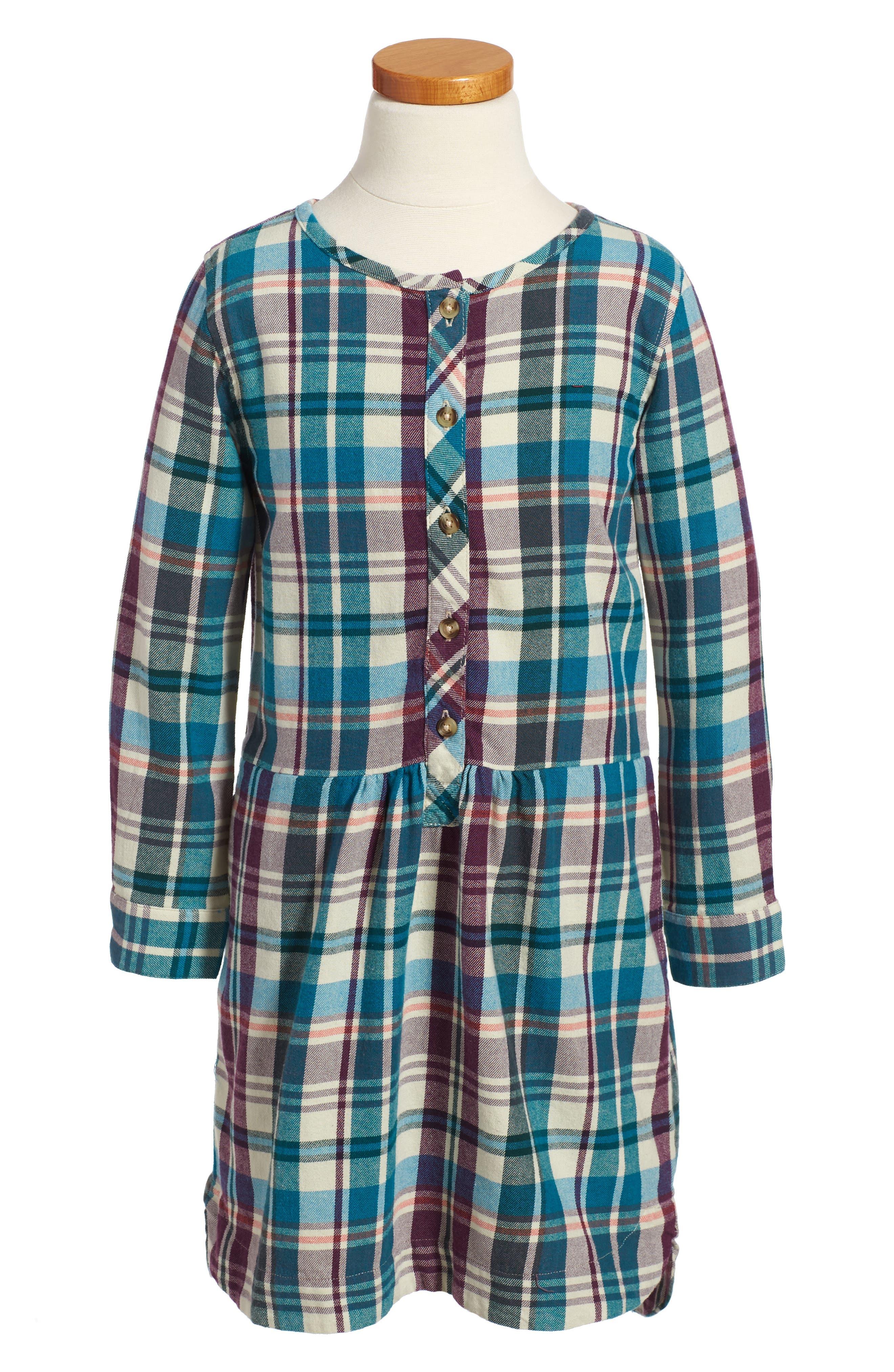 Alternate Image 1 Selected - Tea Collection Applecross Plaid Flannel Shirtdress (Toddler Girls, Little Girls & Big Girls)