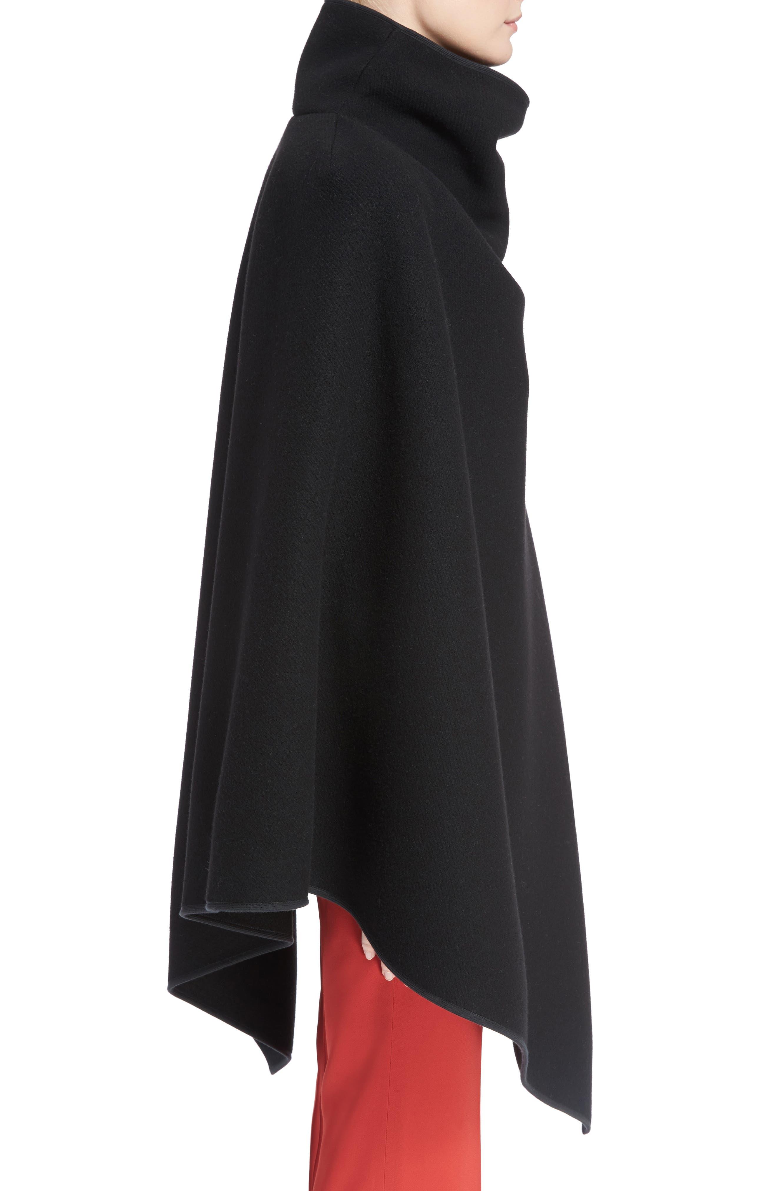 Virgin Wool Blend Poncho,                             Alternate thumbnail 3, color,                             Black