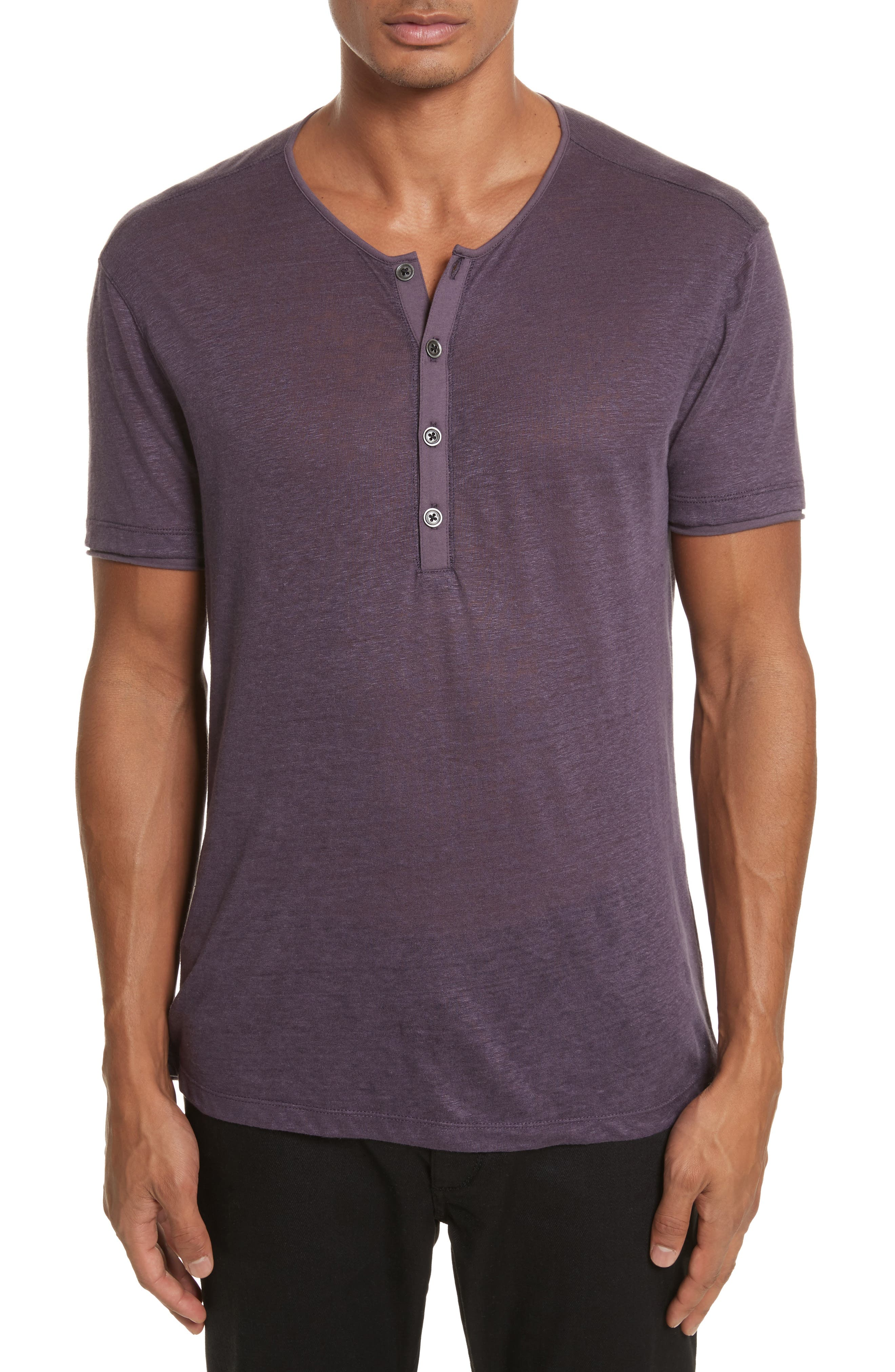 John Varvatos Collection Linen Henley T-Shirt