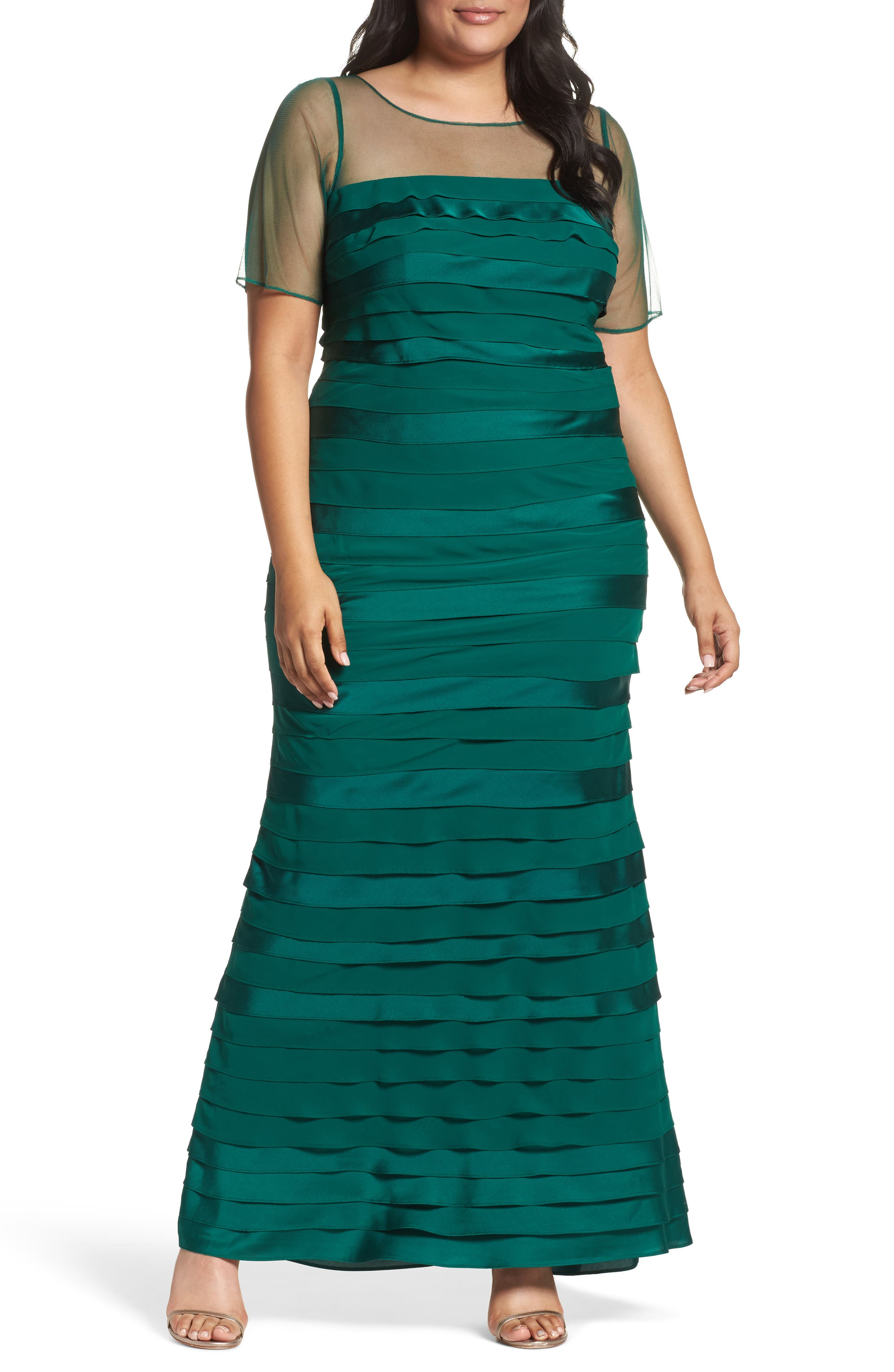 Illusion Neck Shutter Pleat Gown,                         Main,                         color, Evergreen
