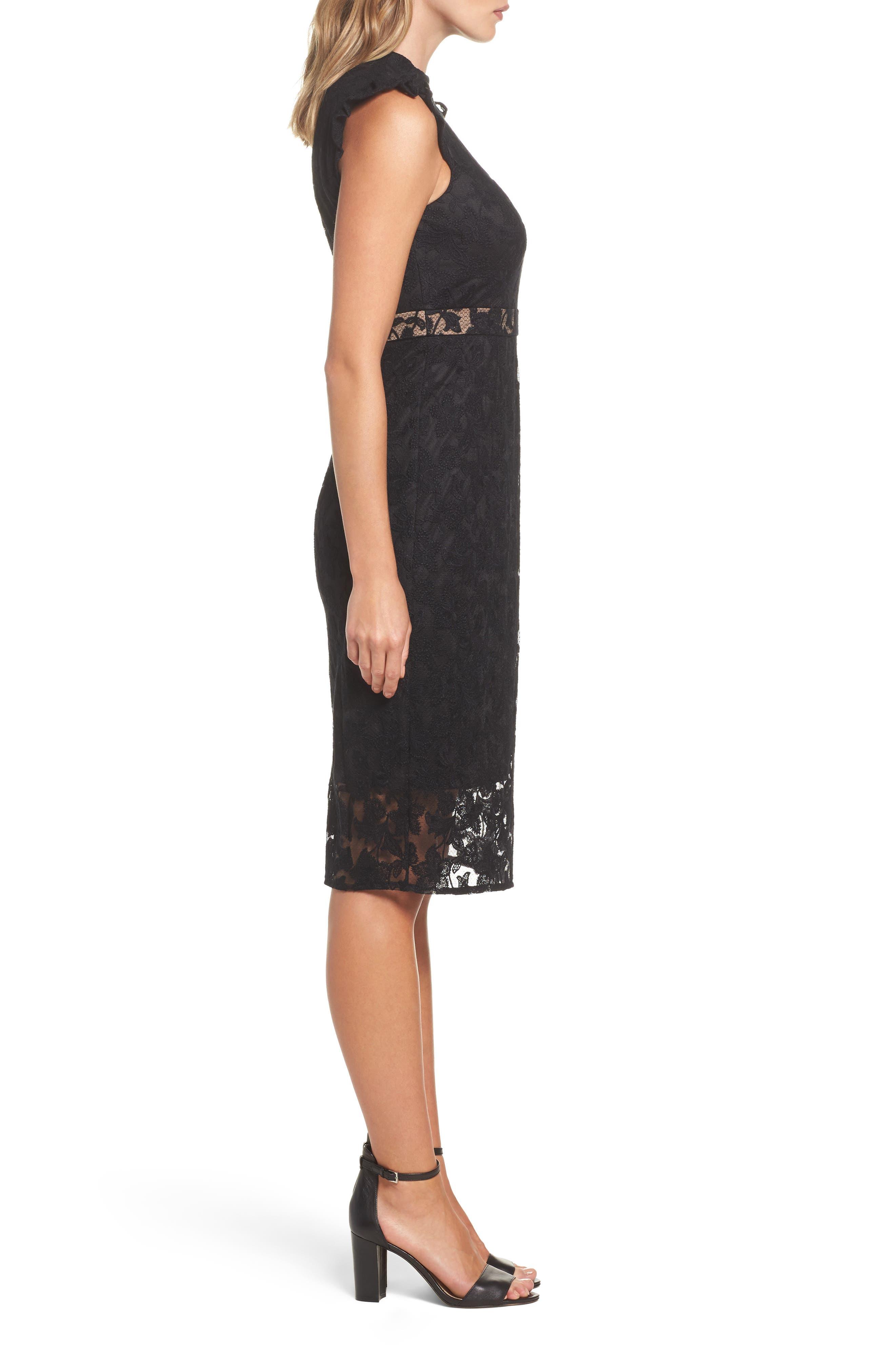 Salmone Lace Sheath Dress,                             Alternate thumbnail 3, color,                             Black/ Nude