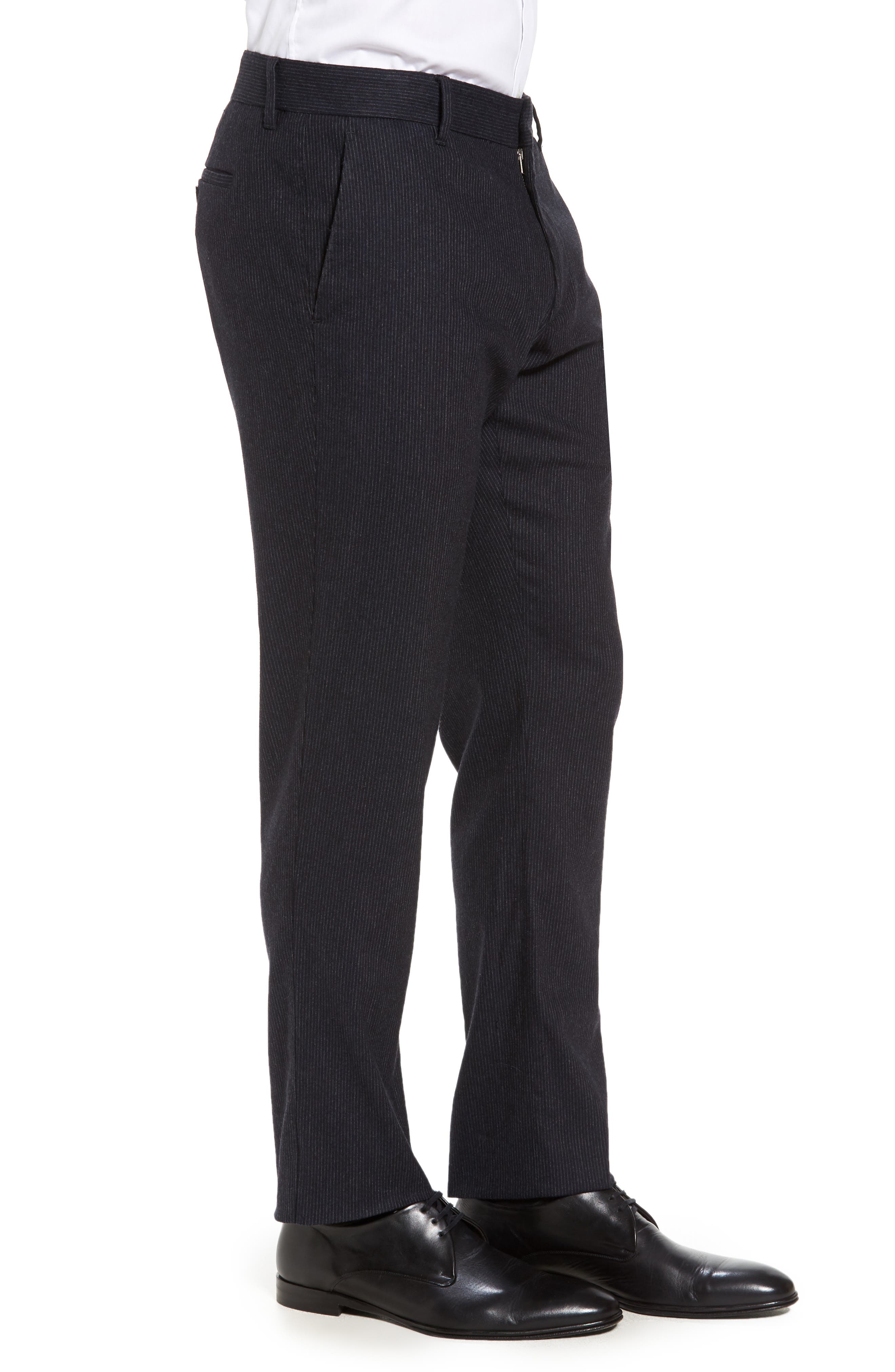 Rushmore Pinstripe Stretch Wool Blend Trousers,                             Alternate thumbnail 3, color,                             Navy