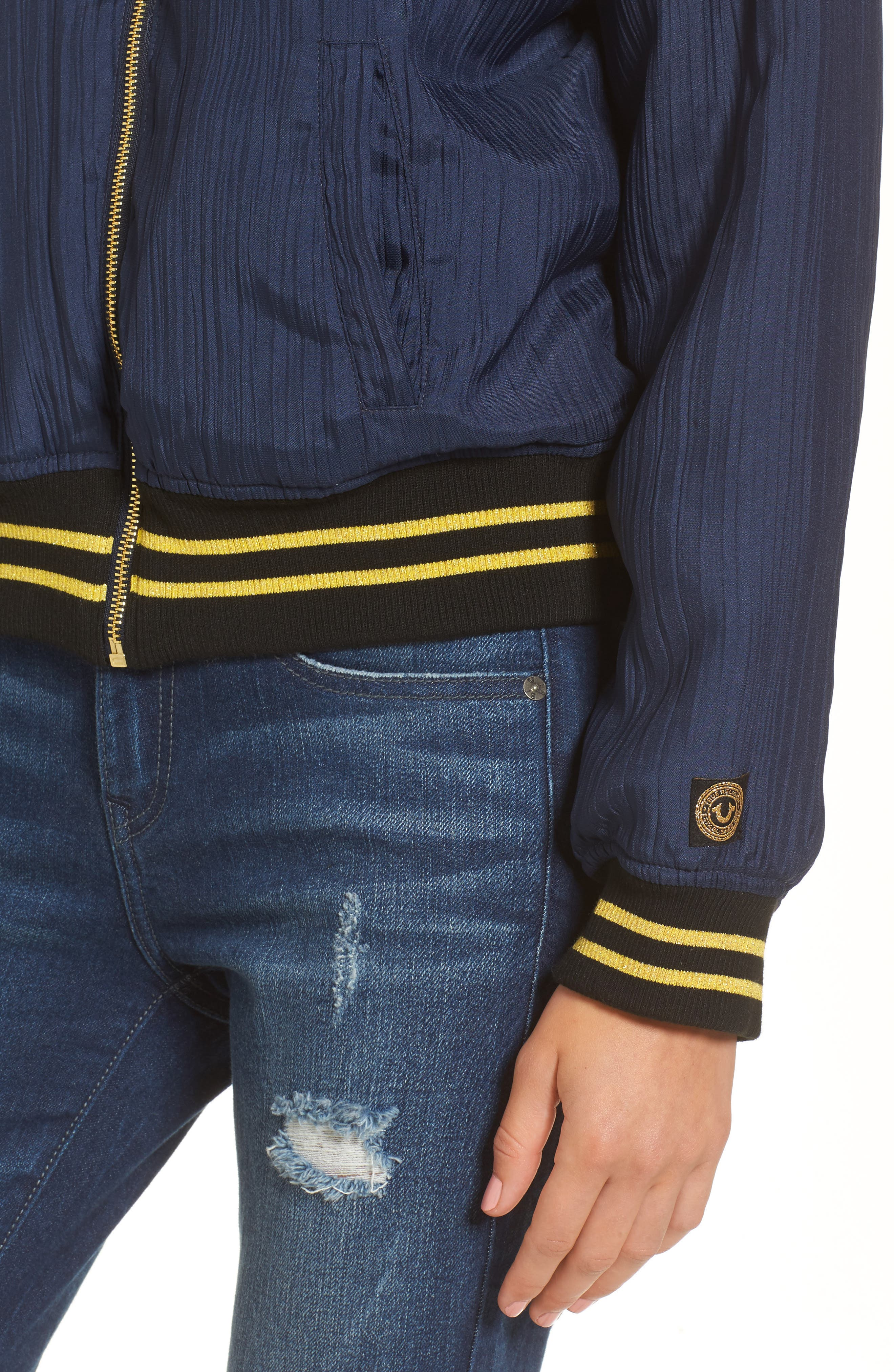 Bomber Jacket,                             Alternate thumbnail 4, color,                             Insignia Blue