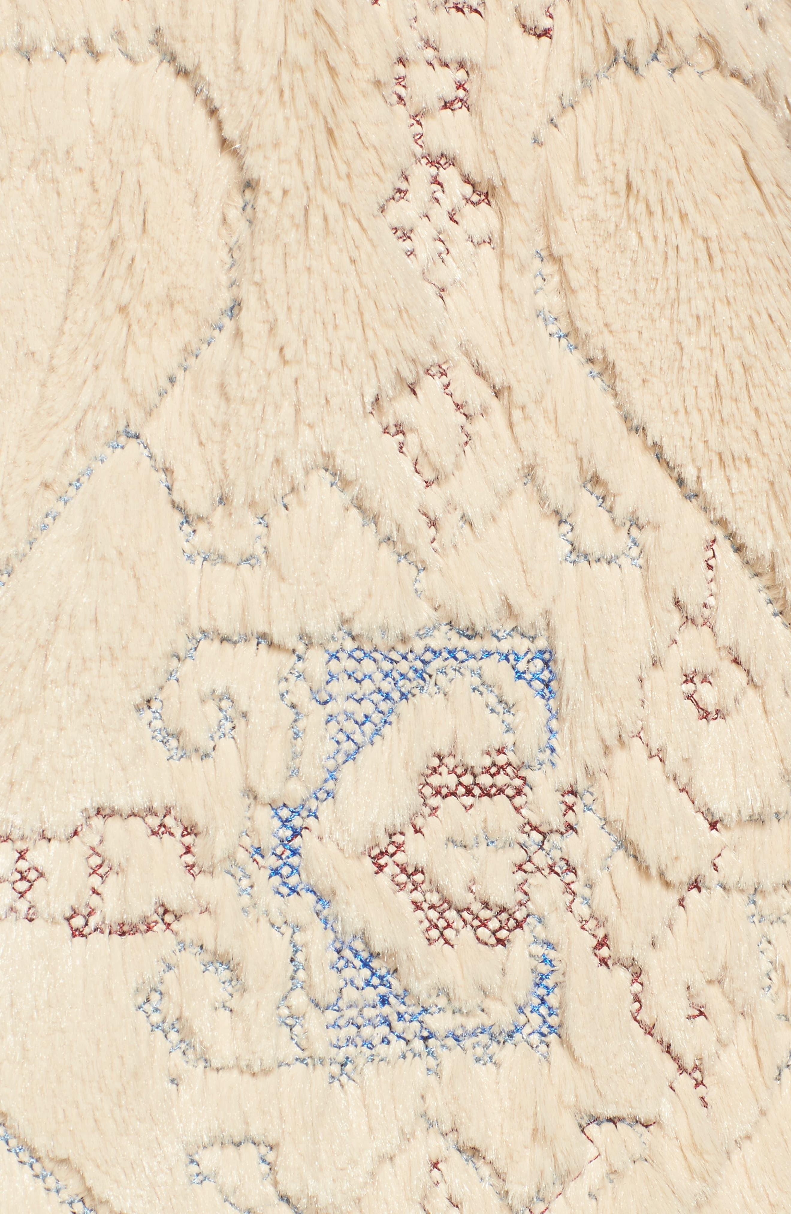 BNCI Embossed Faux Fur Cardigan,                             Alternate thumbnail 6, color,                             Cream