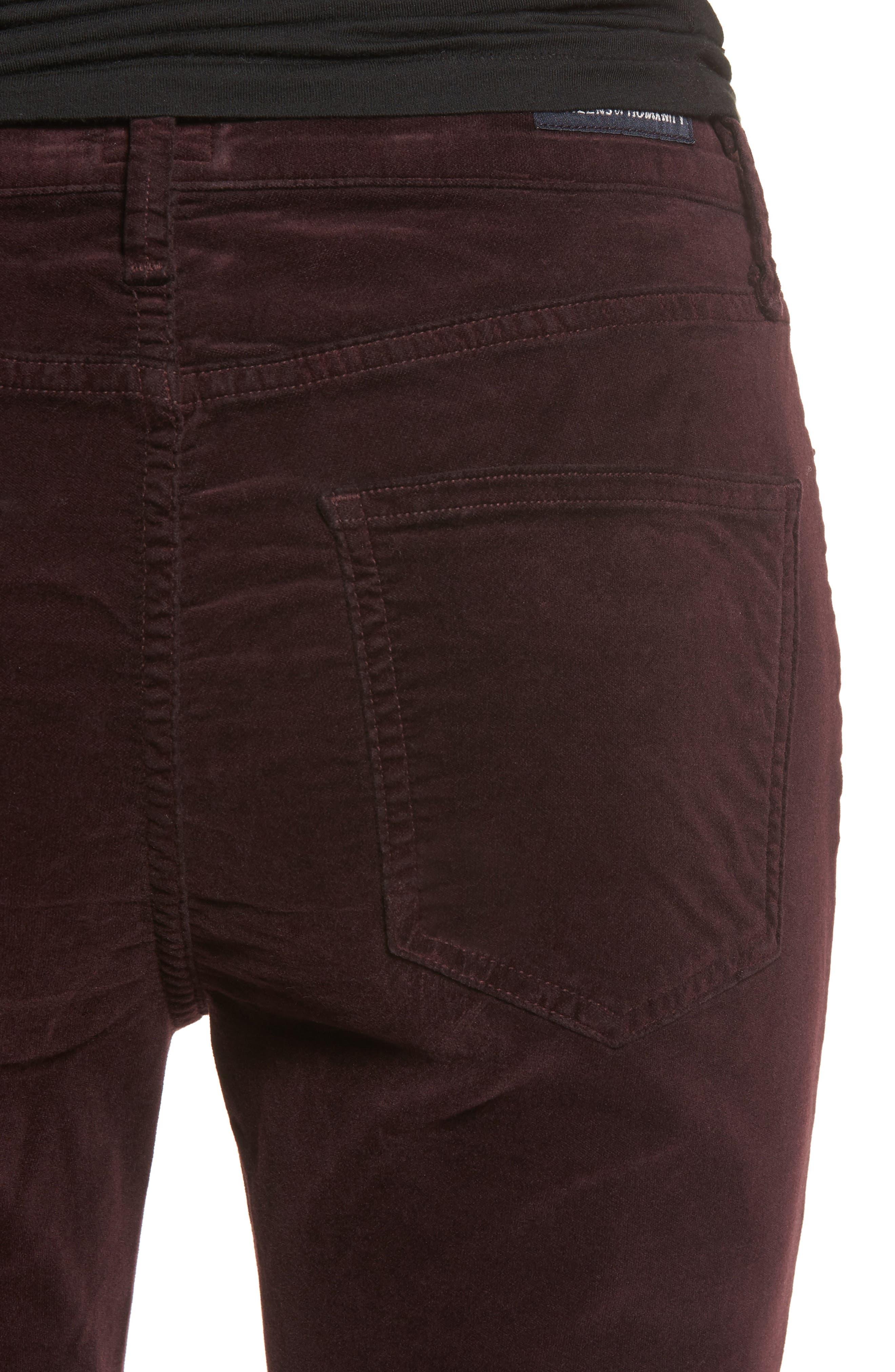 Rocket High Waist Velveteen Skinny Pants,                             Alternate thumbnail 4, color,                             Black Currant Velvet