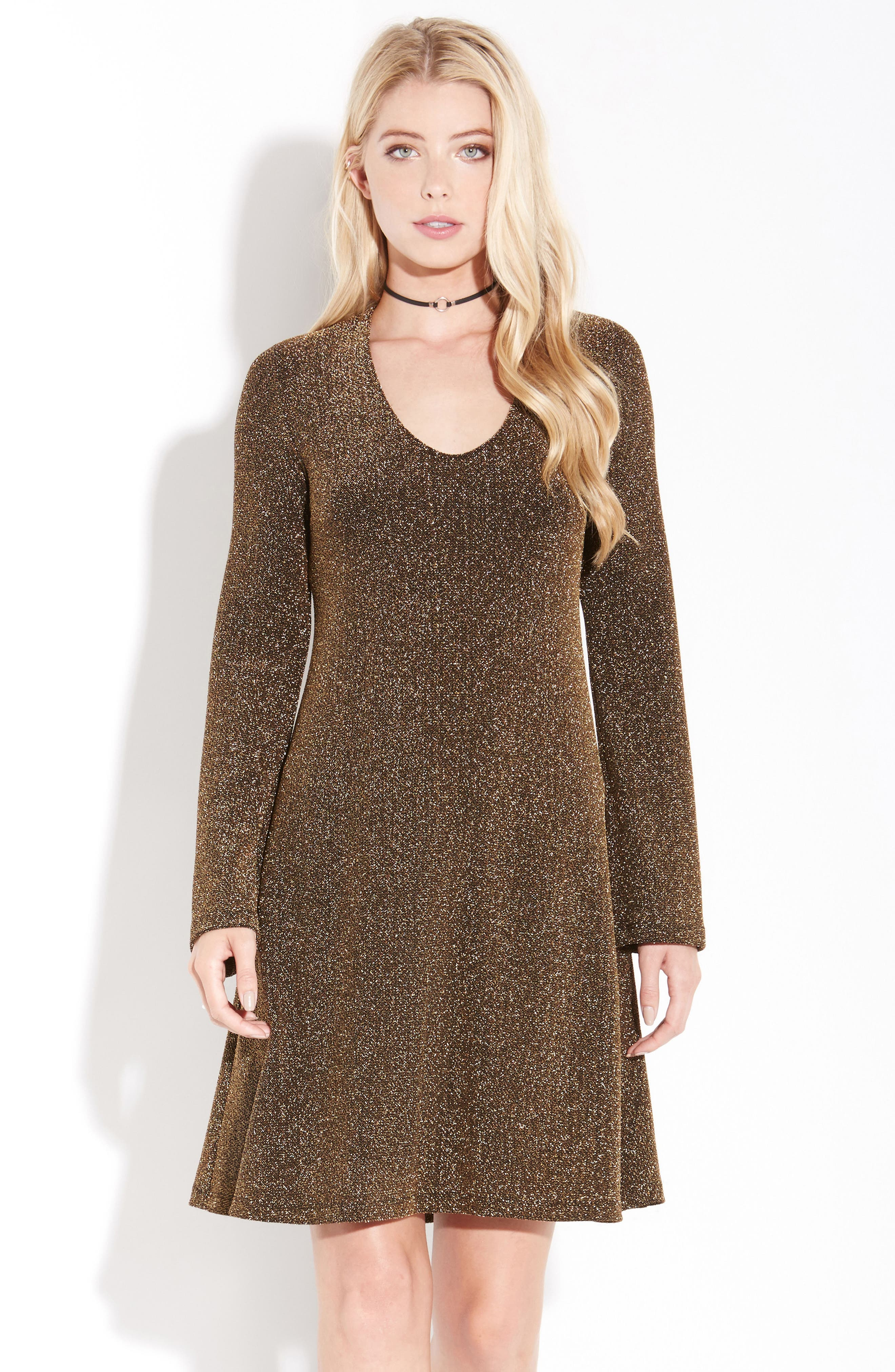 Gold Knit Taylor Dress,                             Alternate thumbnail 3, color,                             Gold