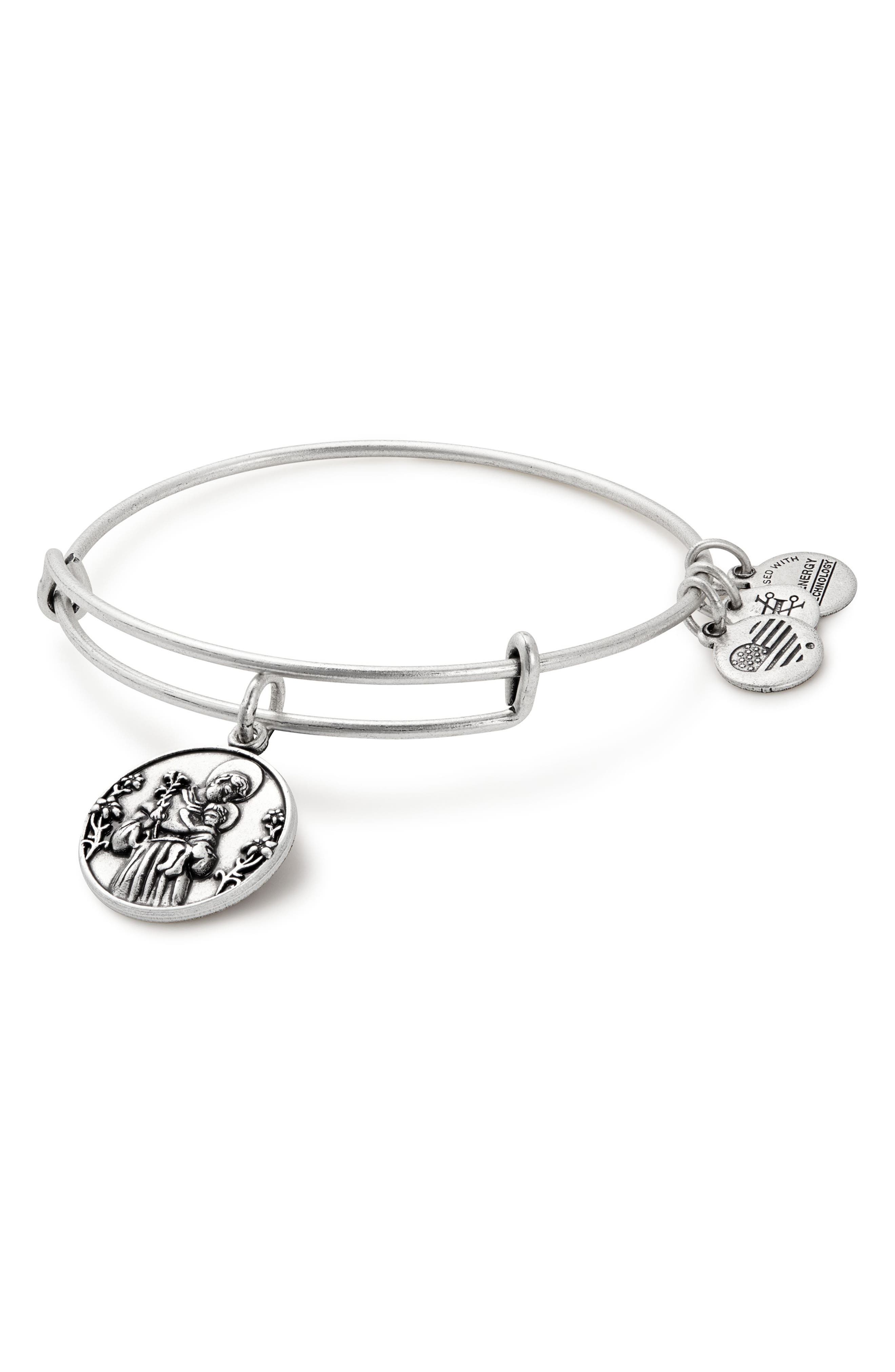 St. Anthony Adjustable Wire Bangle,                         Main,                         color, Silver