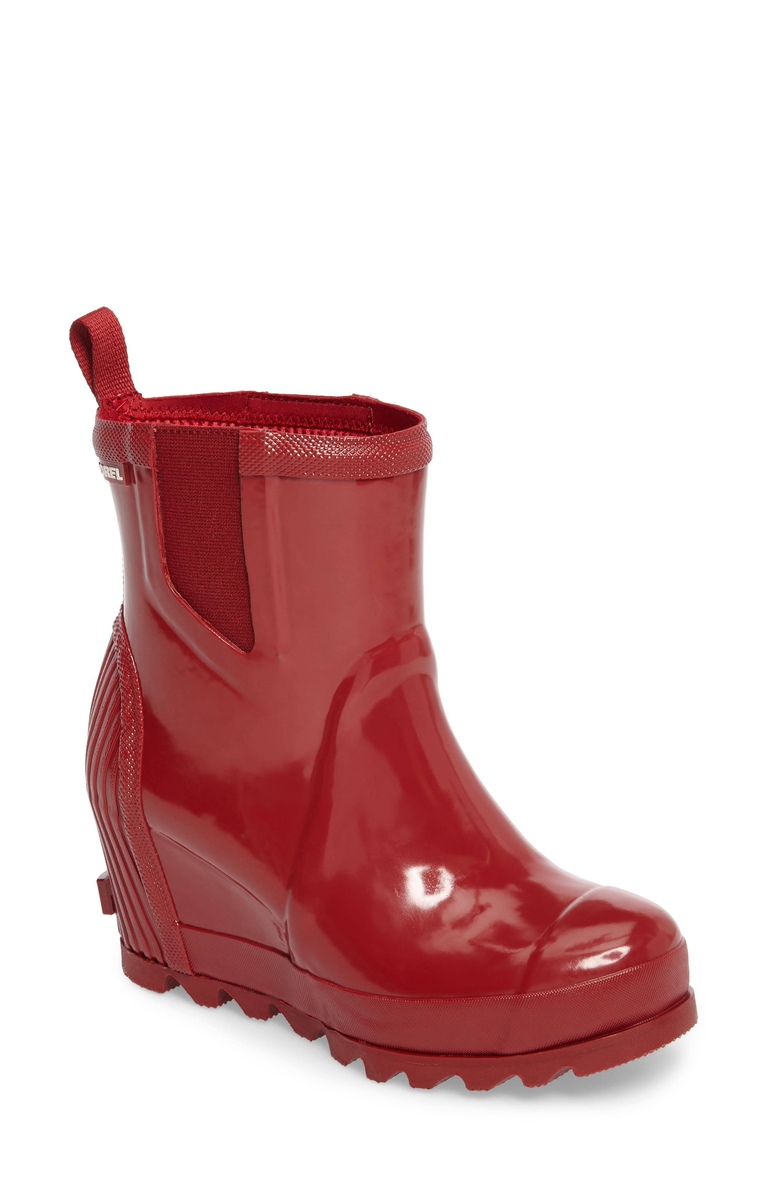 Joan Glossy Wedge Rain Boot,                             Main thumbnail 1, color,                             Red Dahlia/ Candy Apple