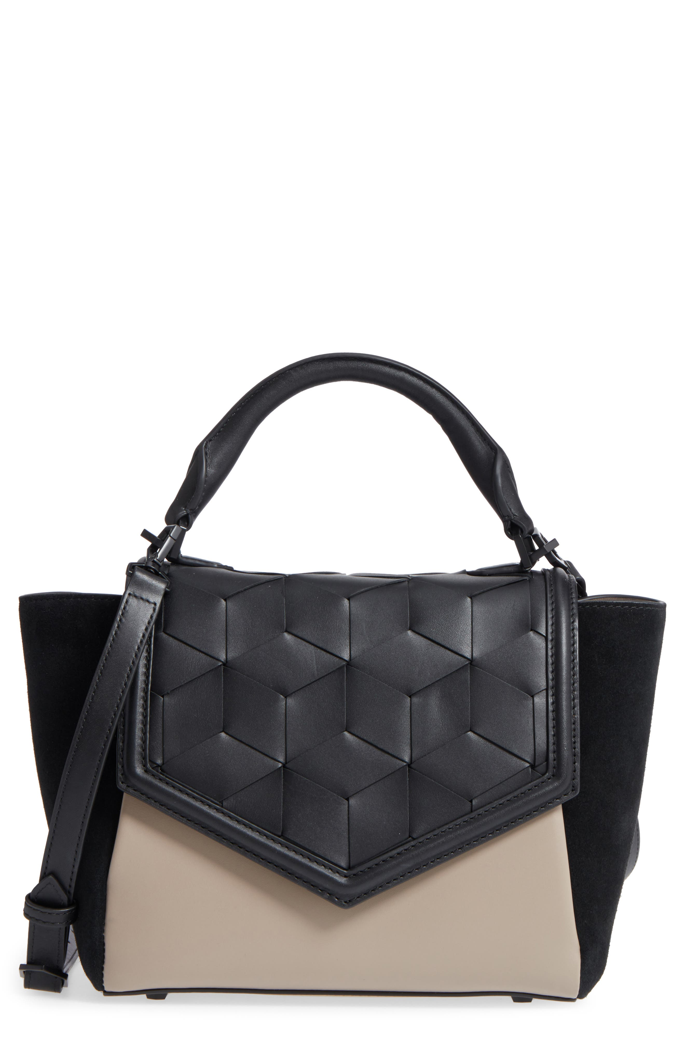 Small Saunter Colorblocked Leather & Suede Top Handle Satchel,                             Main thumbnail 1, color,                             Black/ Taupe