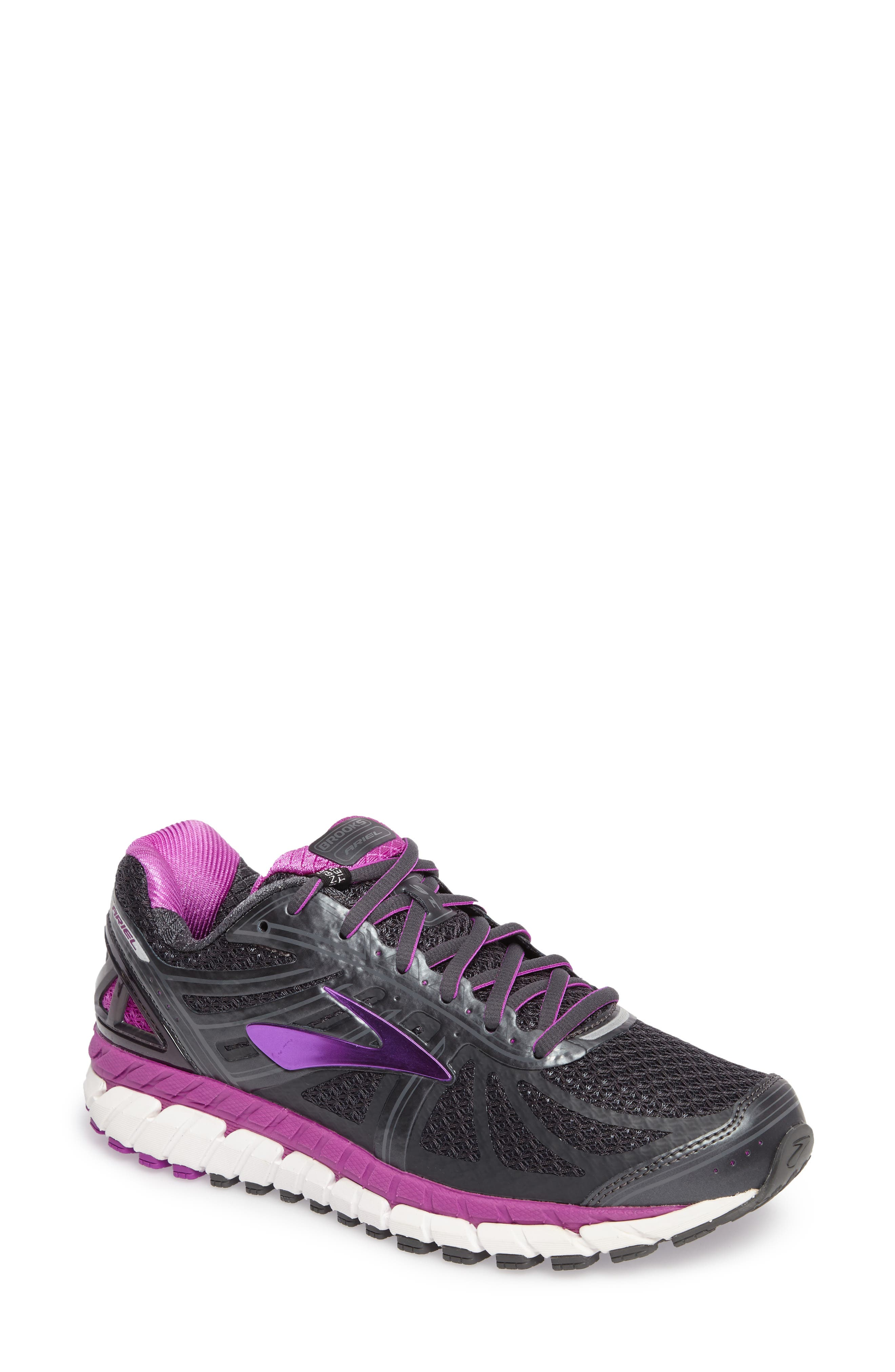 'Ariel 16' Running Shoe,                             Main thumbnail 1, color,                             Anthracite/ Purple/ Grey