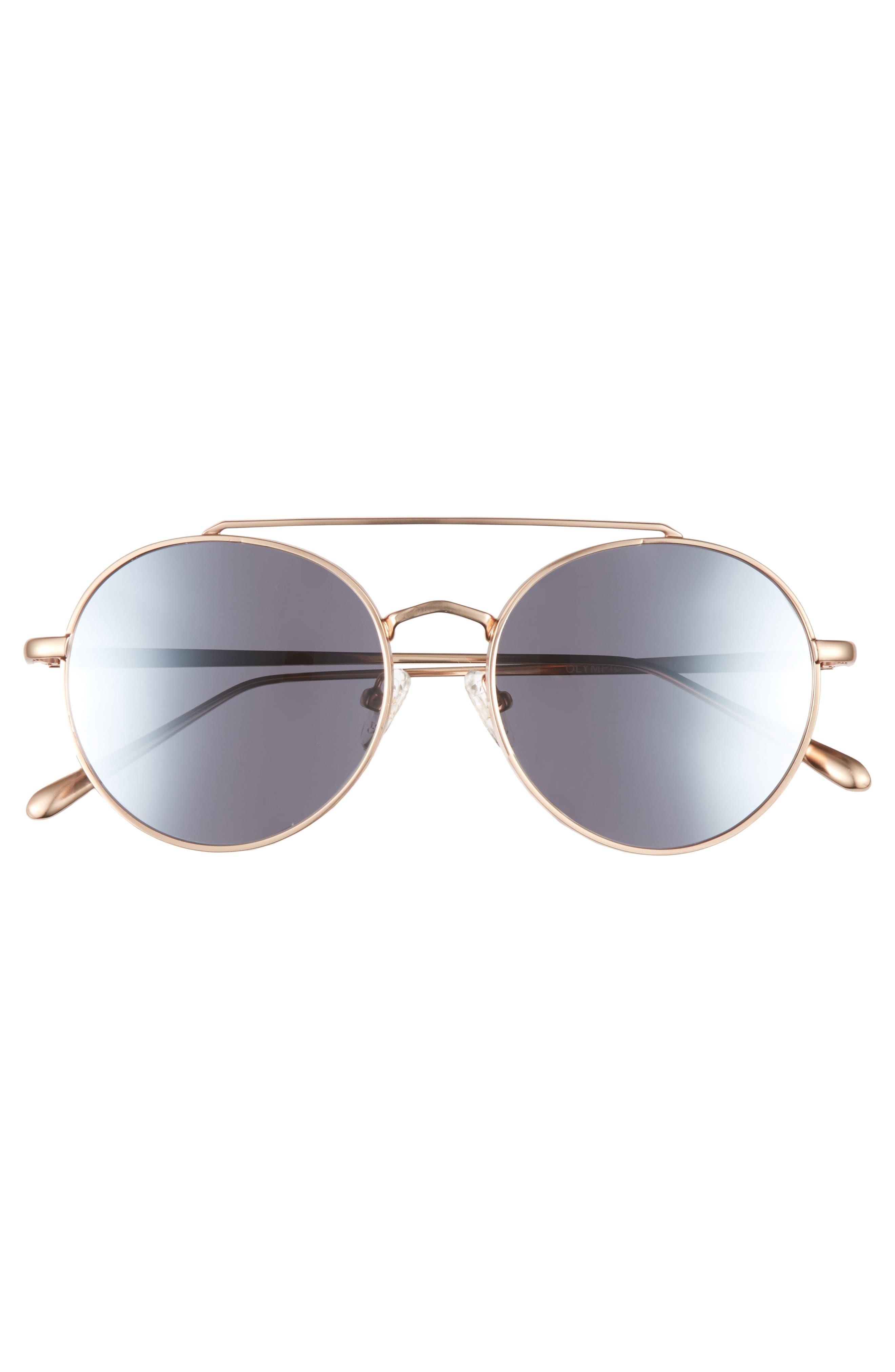 Olympic 53mm Polarized Aviator Sunglasses,                             Alternate thumbnail 5, color,                             Silver