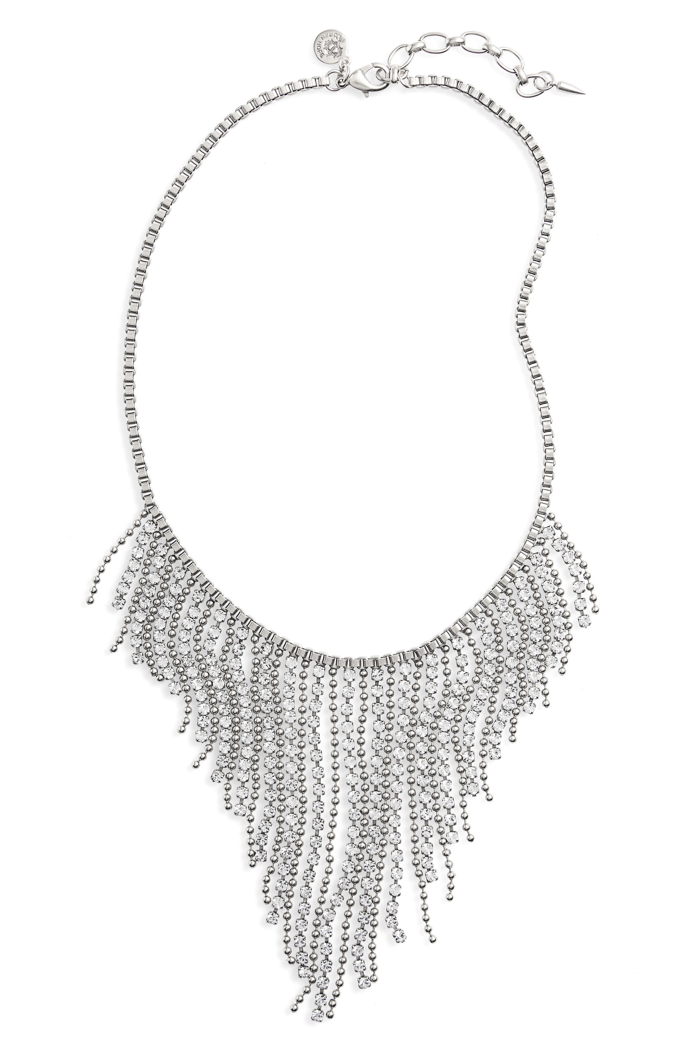 Joanna Frontal Necklace,                         Main,                         color, Silver/ Crystal