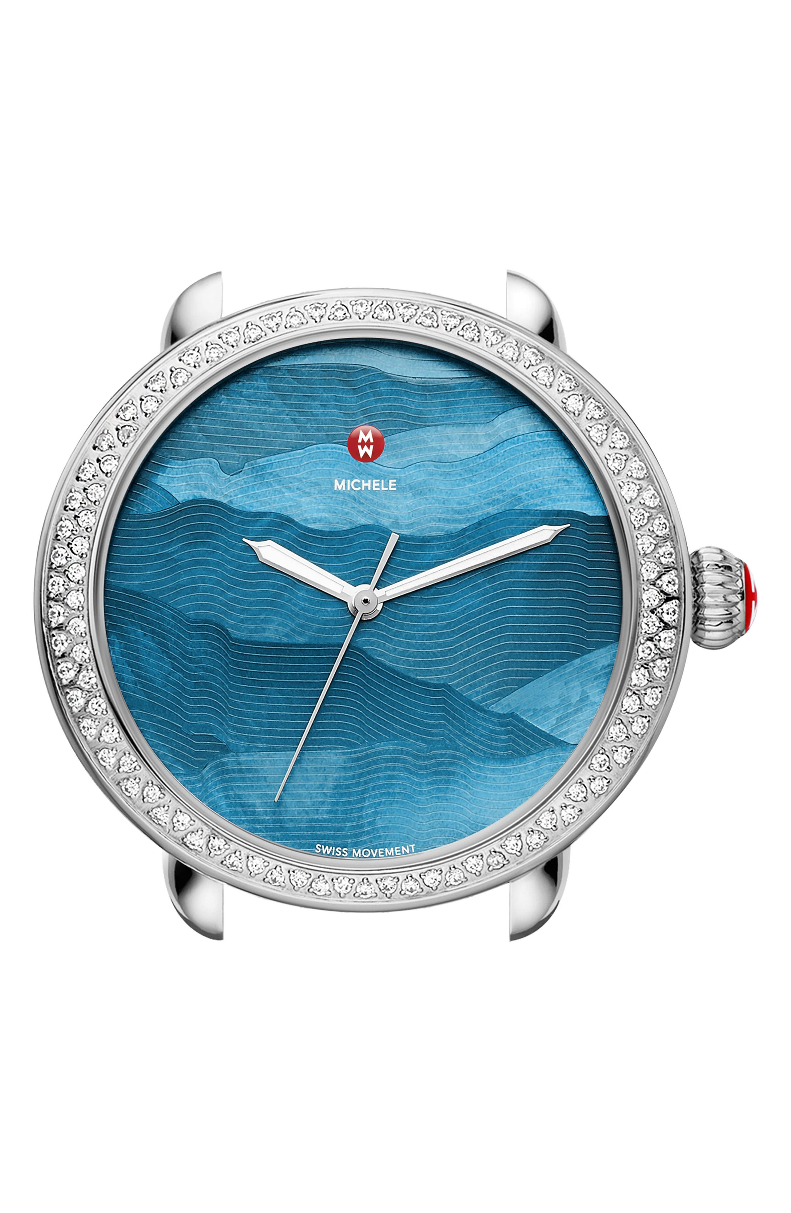 Serein Watch Head, 40mm x 38mm,                         Main,                         color, Teal/ Silver
