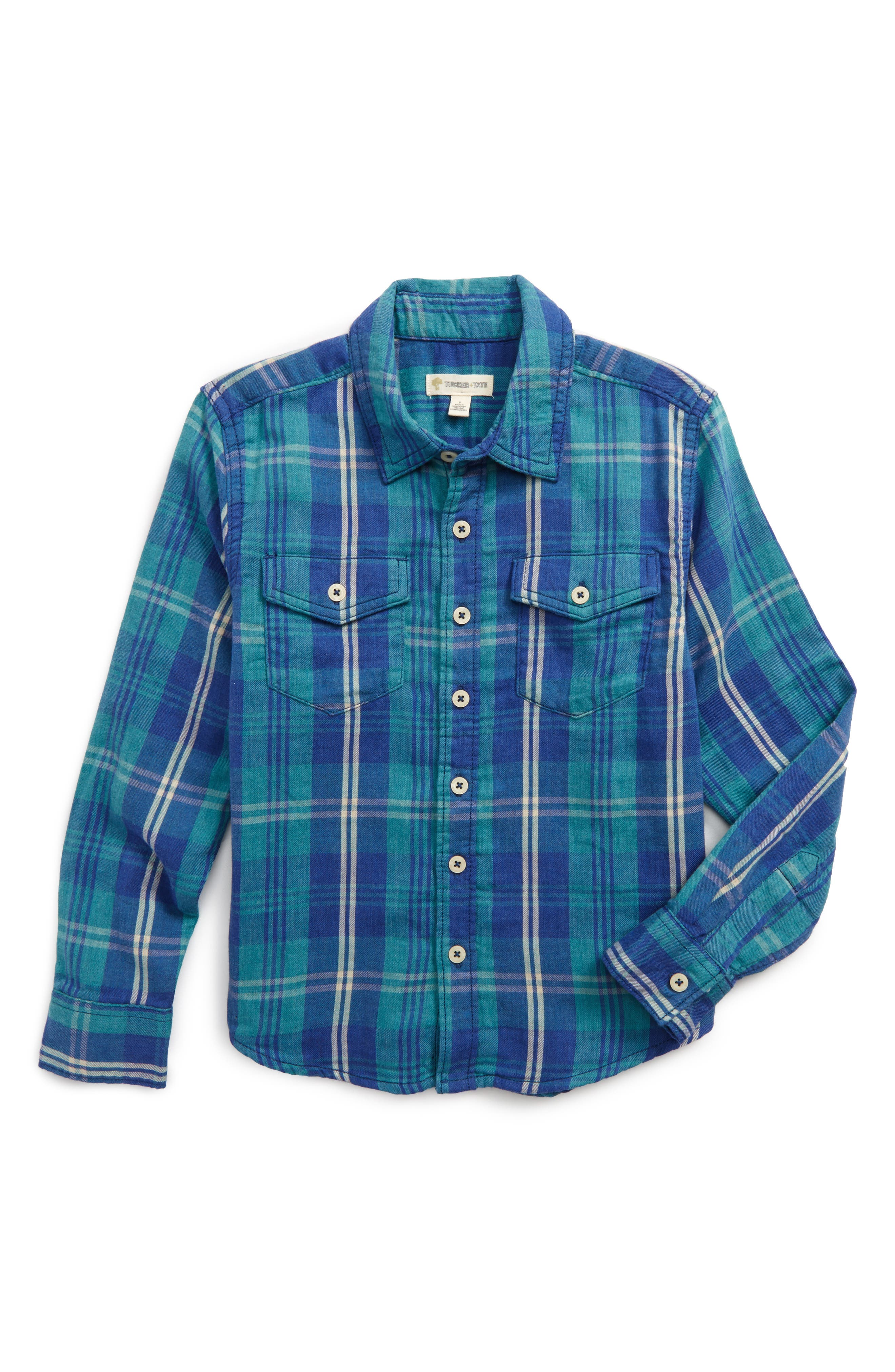 Plaid Double Cloth Shirt,                             Main thumbnail 1, color,                             Blue Estate Plaid