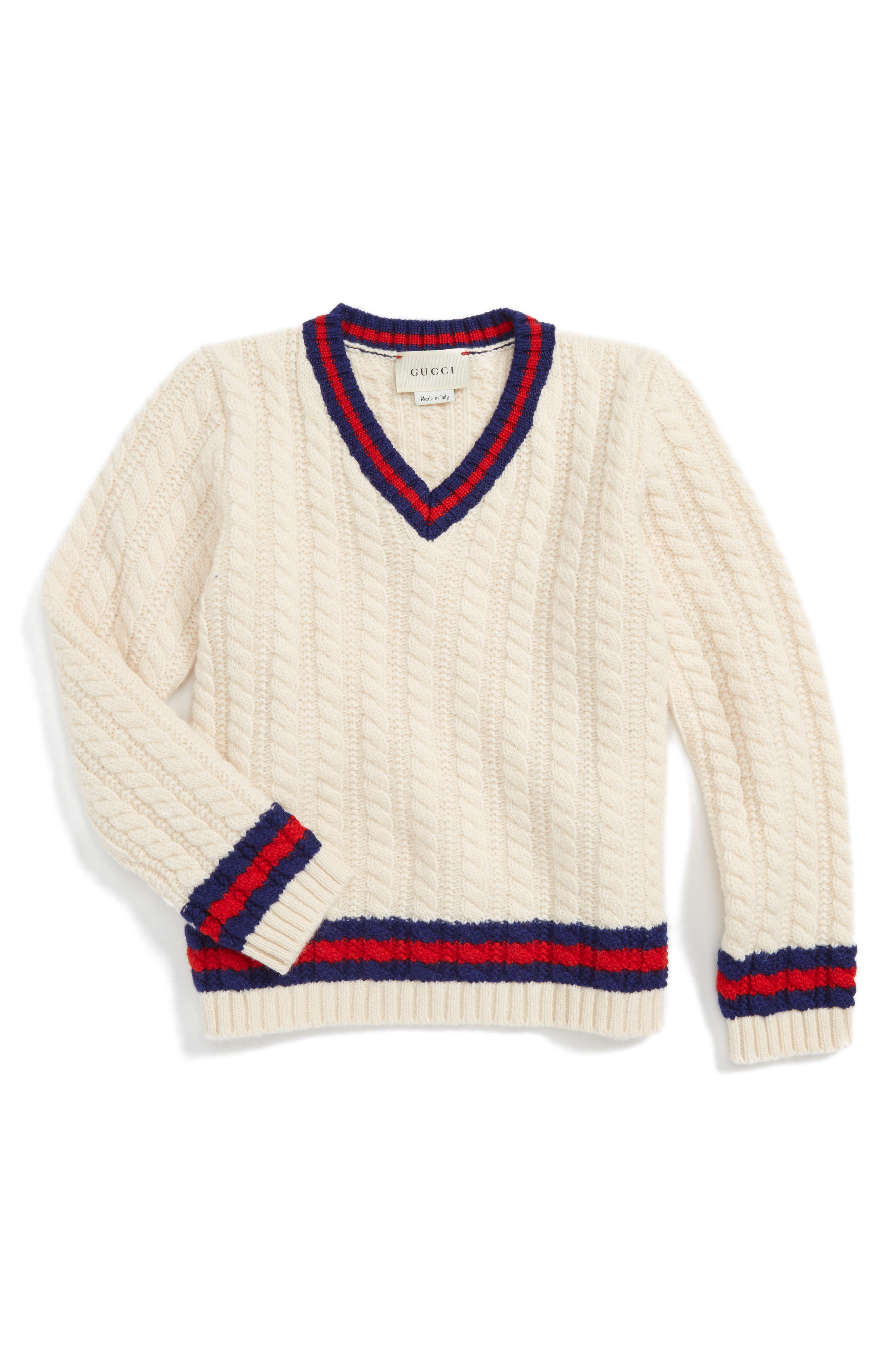 Cable Knit Wool Sweater,                         Main,                         color, Ivory Multi