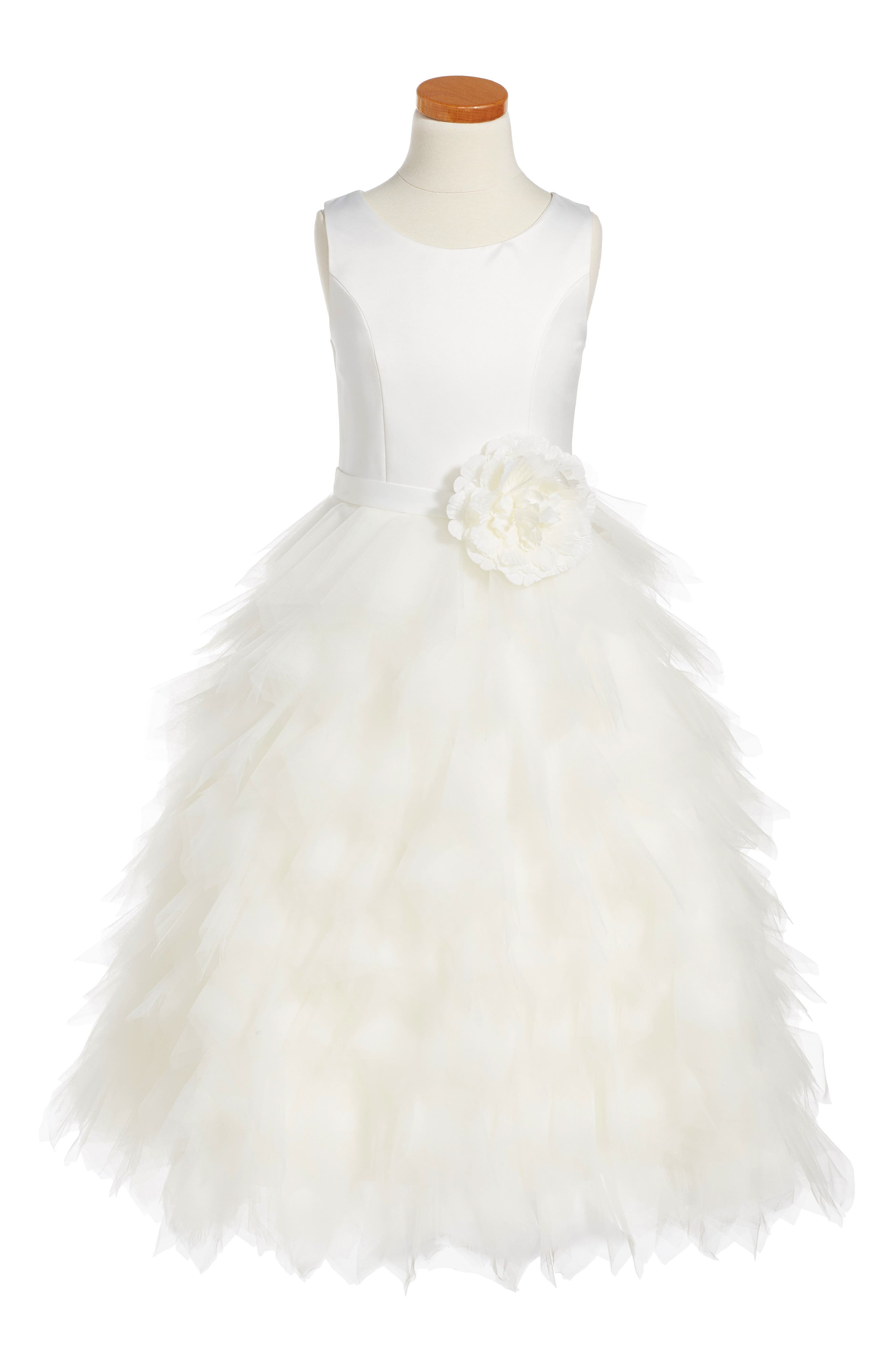 Satin & Tulle Dress,                         Main,                         color, Ivory