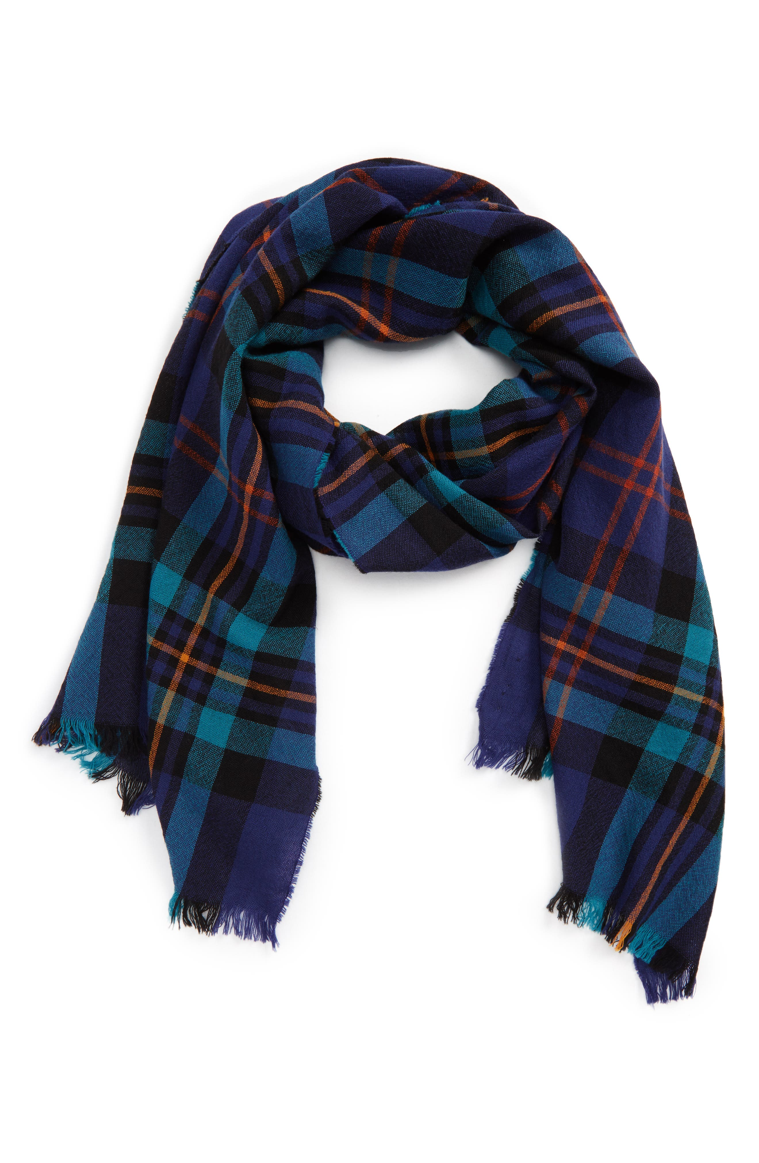 Plaid Wool Scarf,                         Main,                         color, Navy Multi