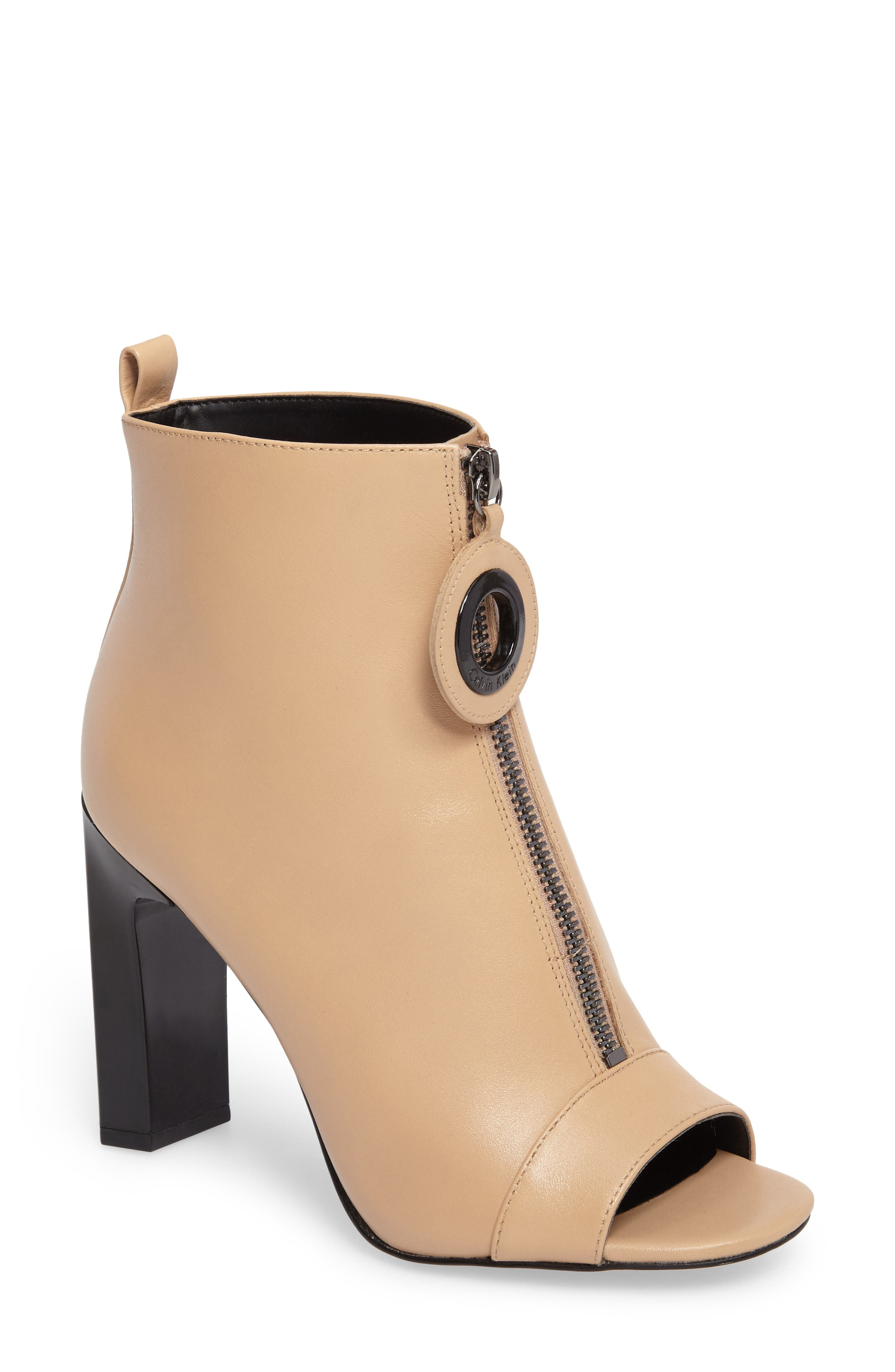 Minda Open Toe Bootie,                             Main thumbnail 1, color,                             Sandstrom Leather