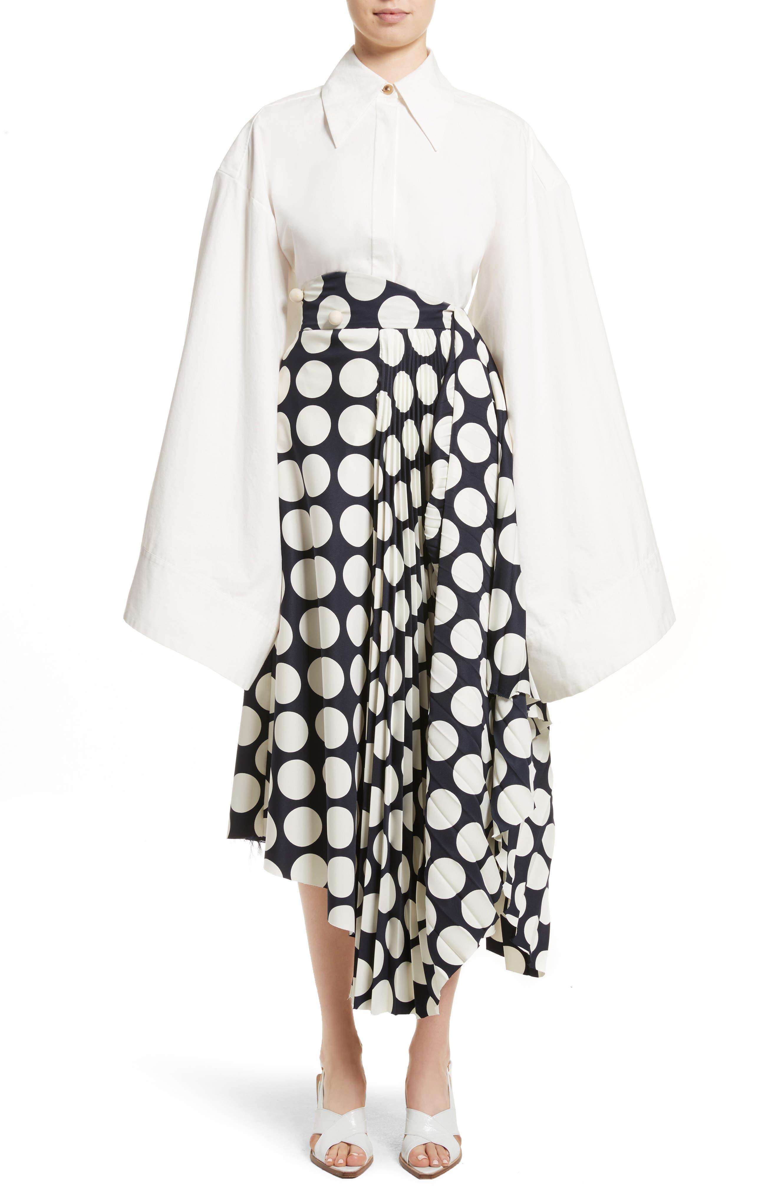 Giant Polka Dot Pleated Skirt,                             Alternate thumbnail 9, color,                             Navy/ Off-White