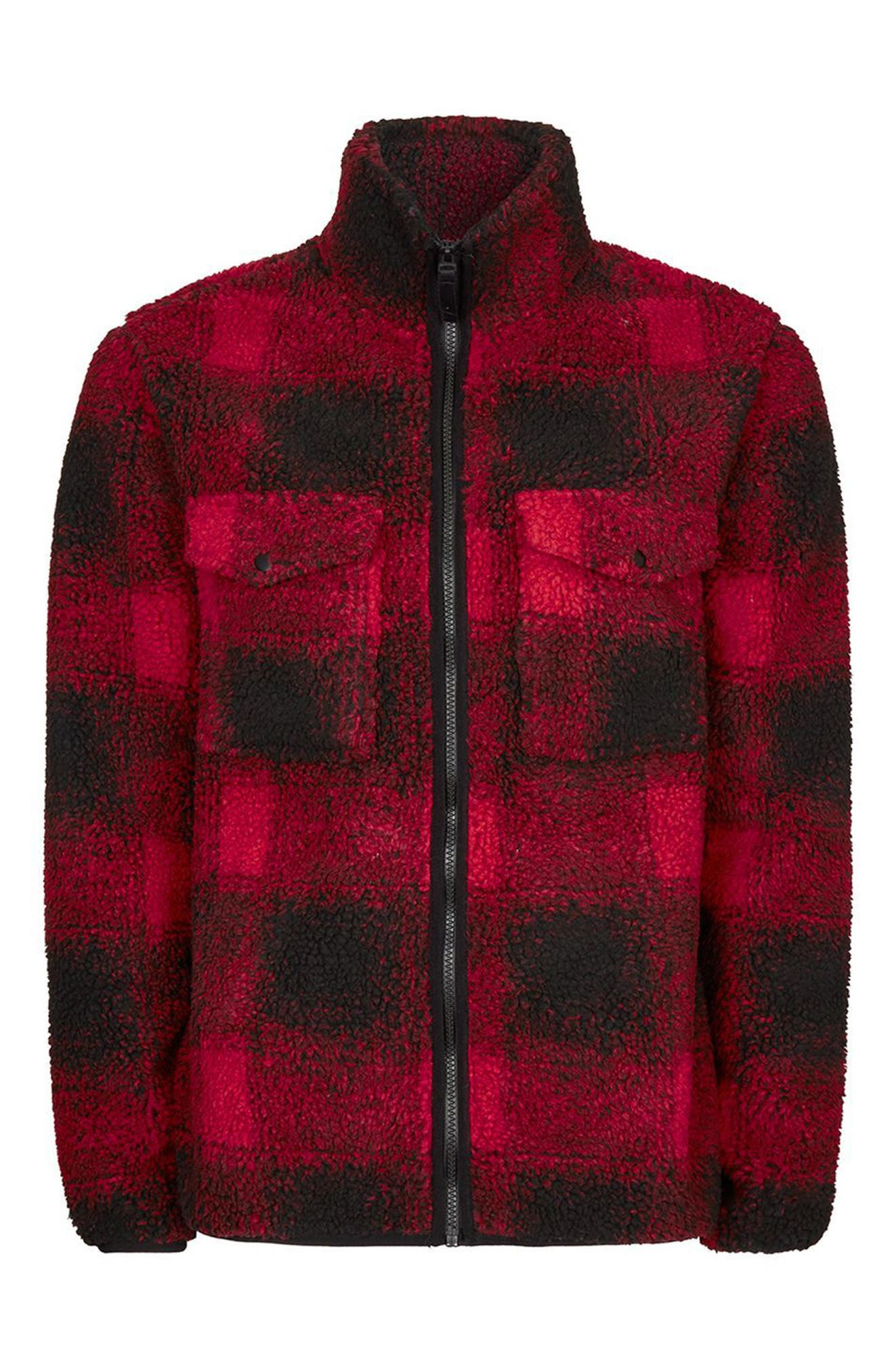 Alternate Image 4  - Topman Buffalo Check Borg Jacket