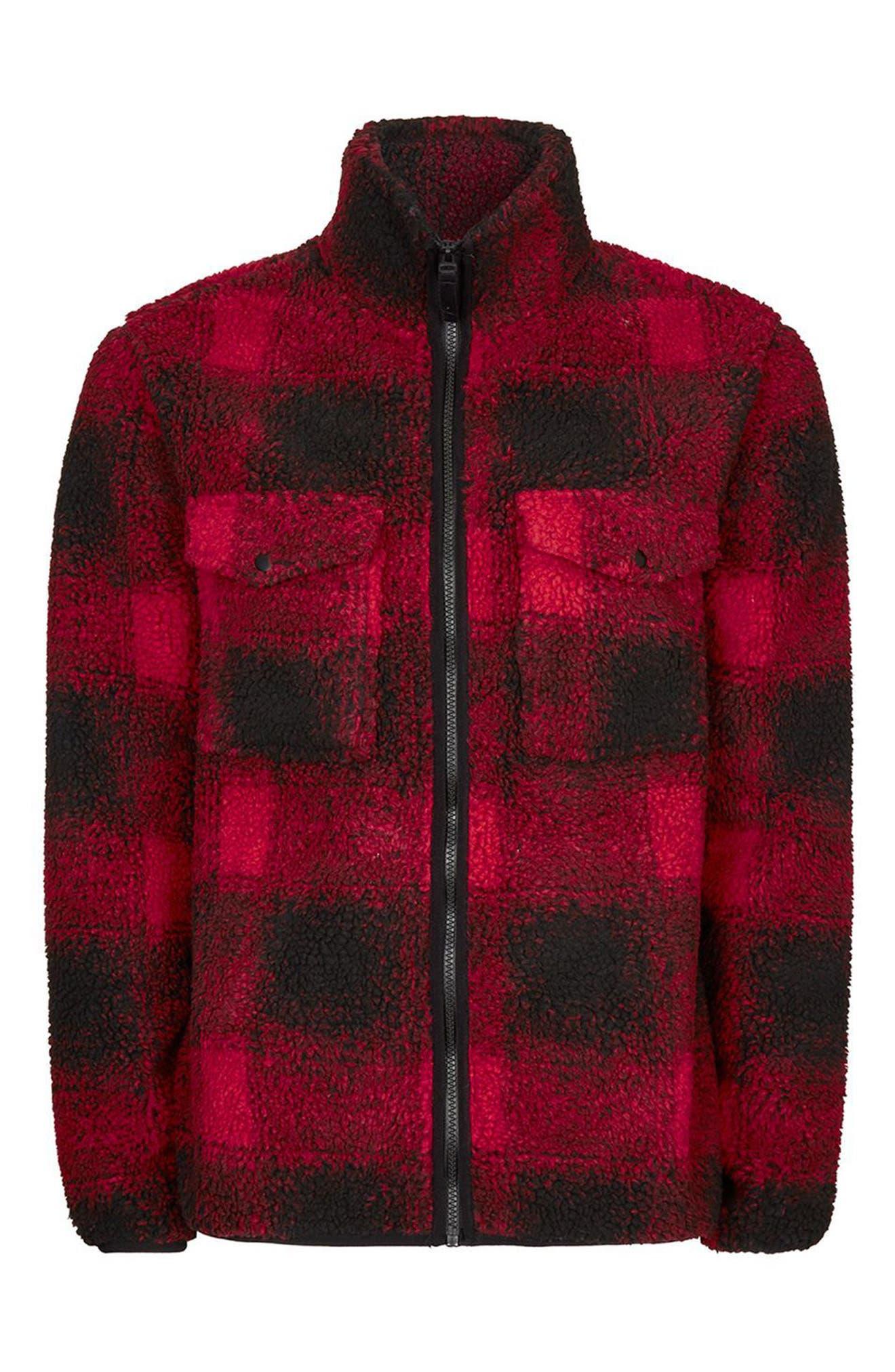 Buffalo Check Borg Jacket,                             Alternate thumbnail 4, color,                             Red Multi