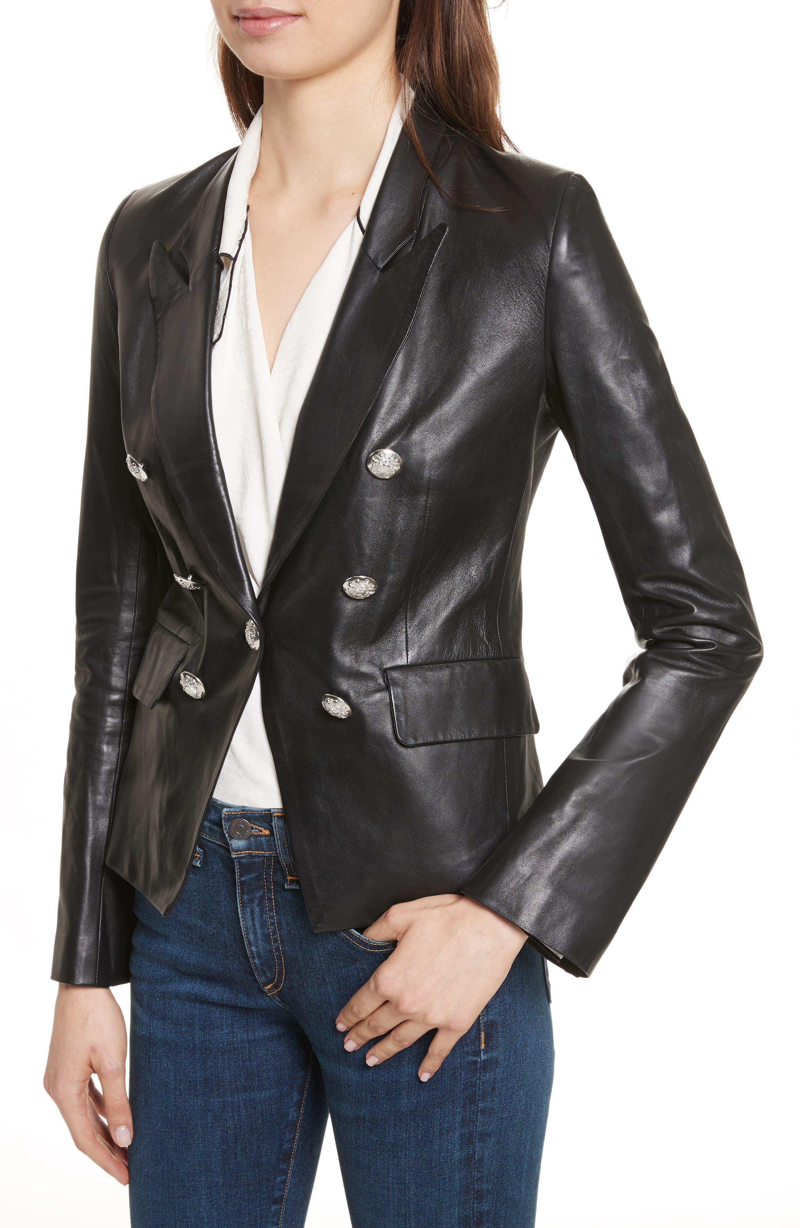 Cooke Leather Jacket,                             Alternate thumbnail 4, color,                             Black