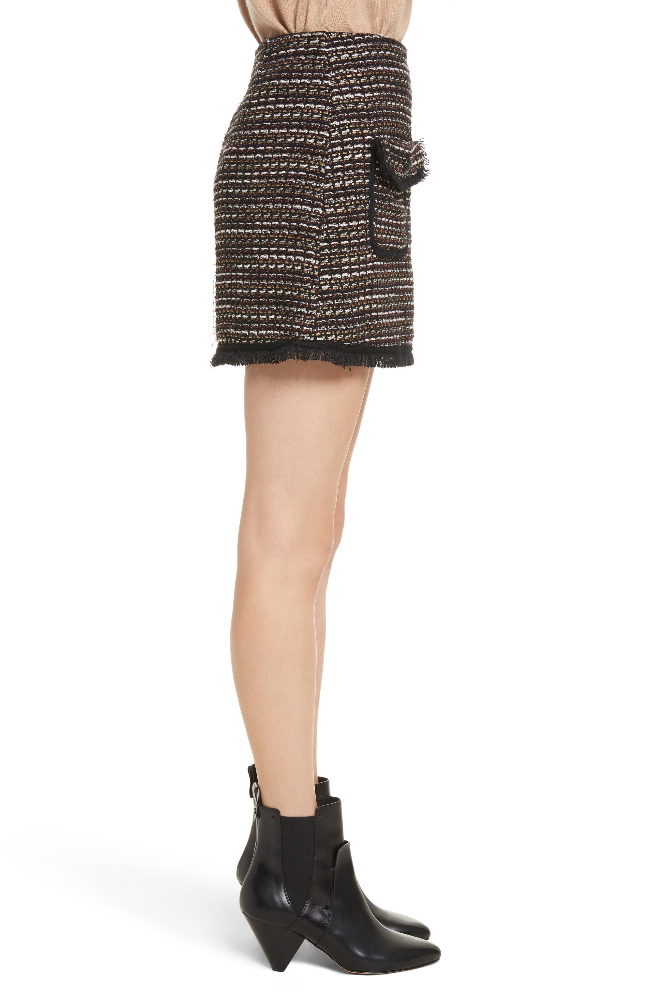 Margot Skirt,                             Alternate thumbnail 3, color,                             Black/ White/ Gold
