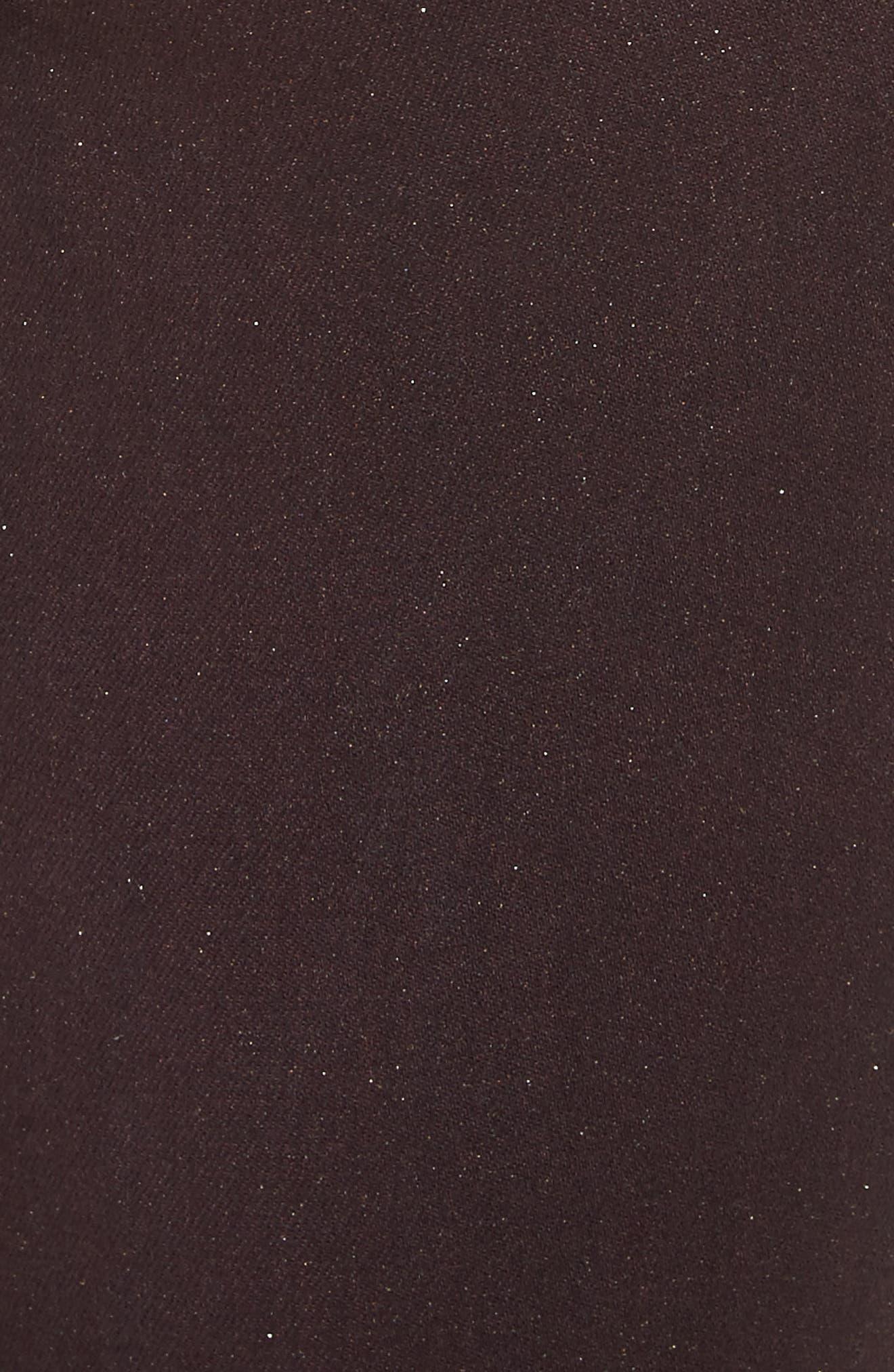 Margot High Waist Glitter Coated Jeans,                             Alternate thumbnail 5, color,                             Bordeaux Glitter Coated