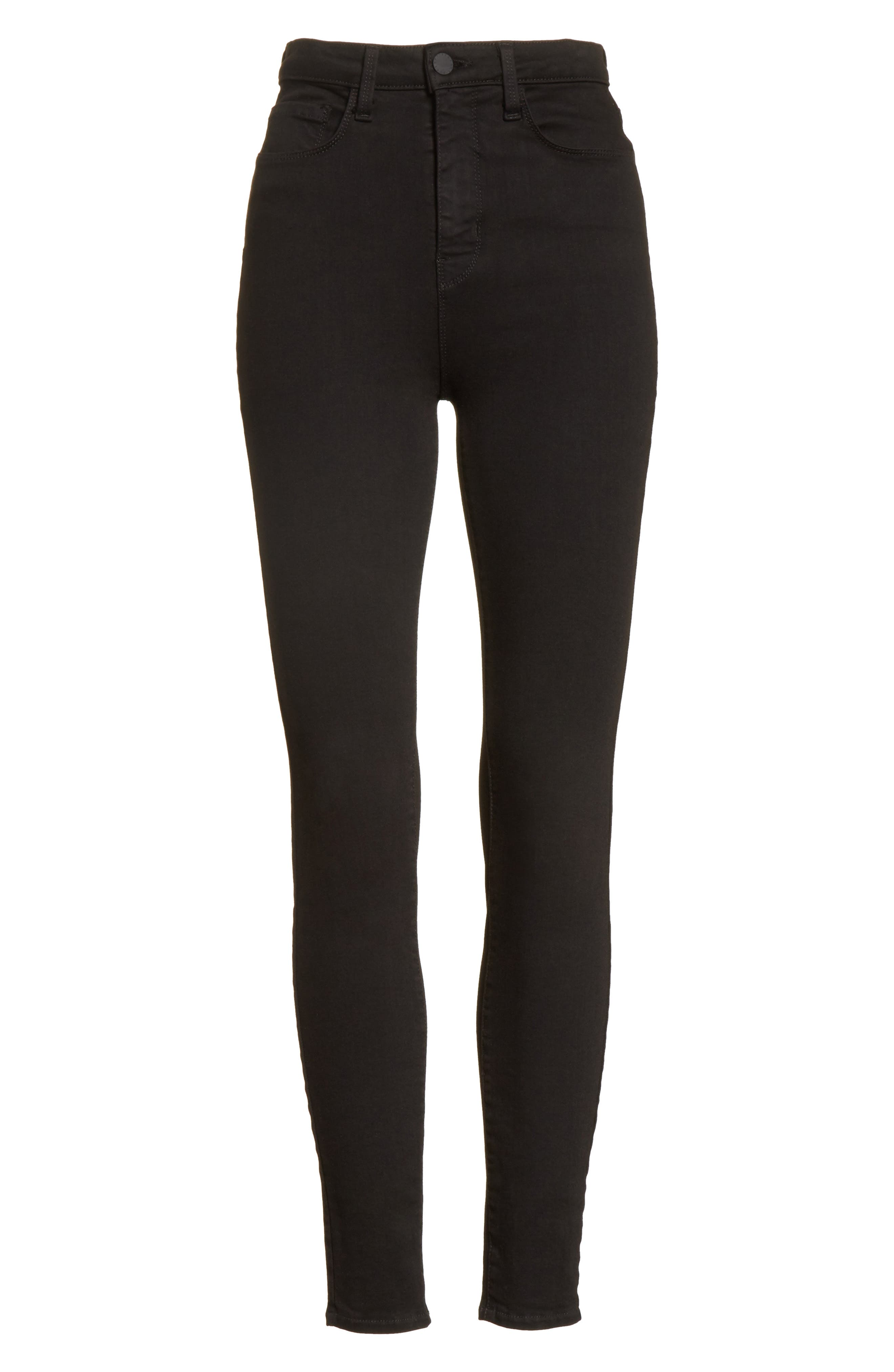 Katrina Ultra High Waist Skinny Jeans,                             Alternate thumbnail 6, color,                             Noir