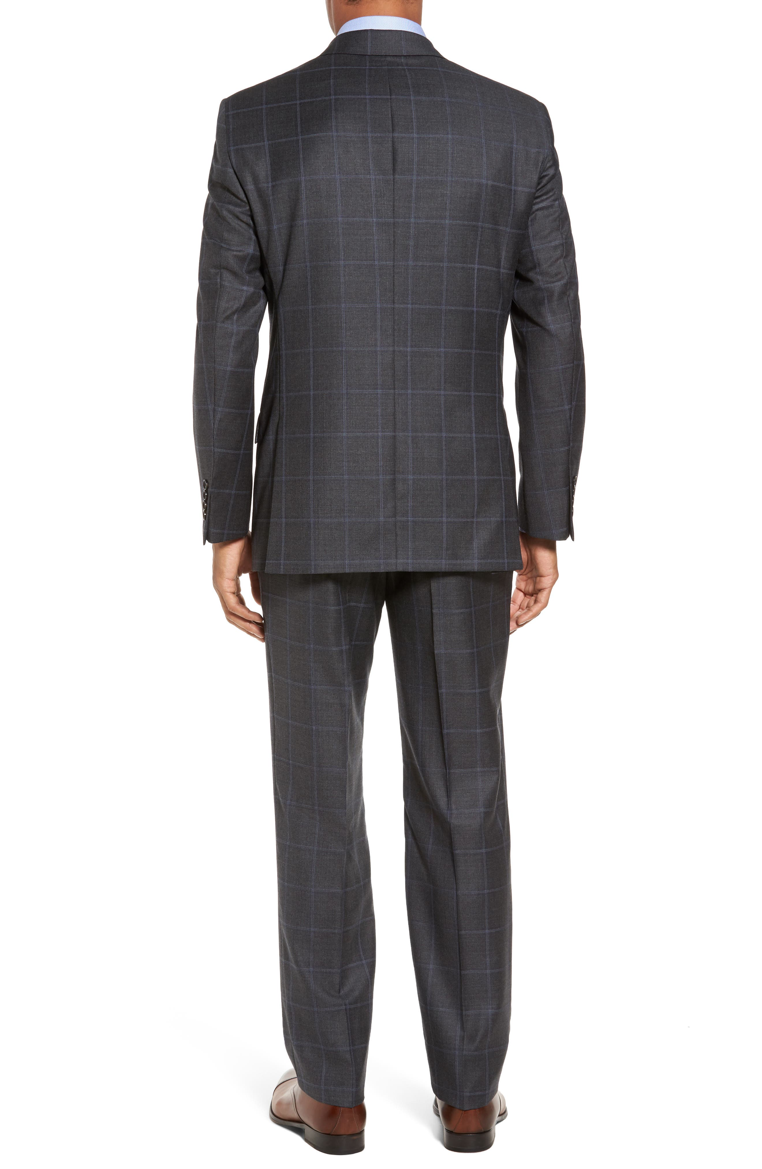 Classic Fit Plaid Wool Suit,                             Alternate thumbnail 2, color,                             Dark Grey