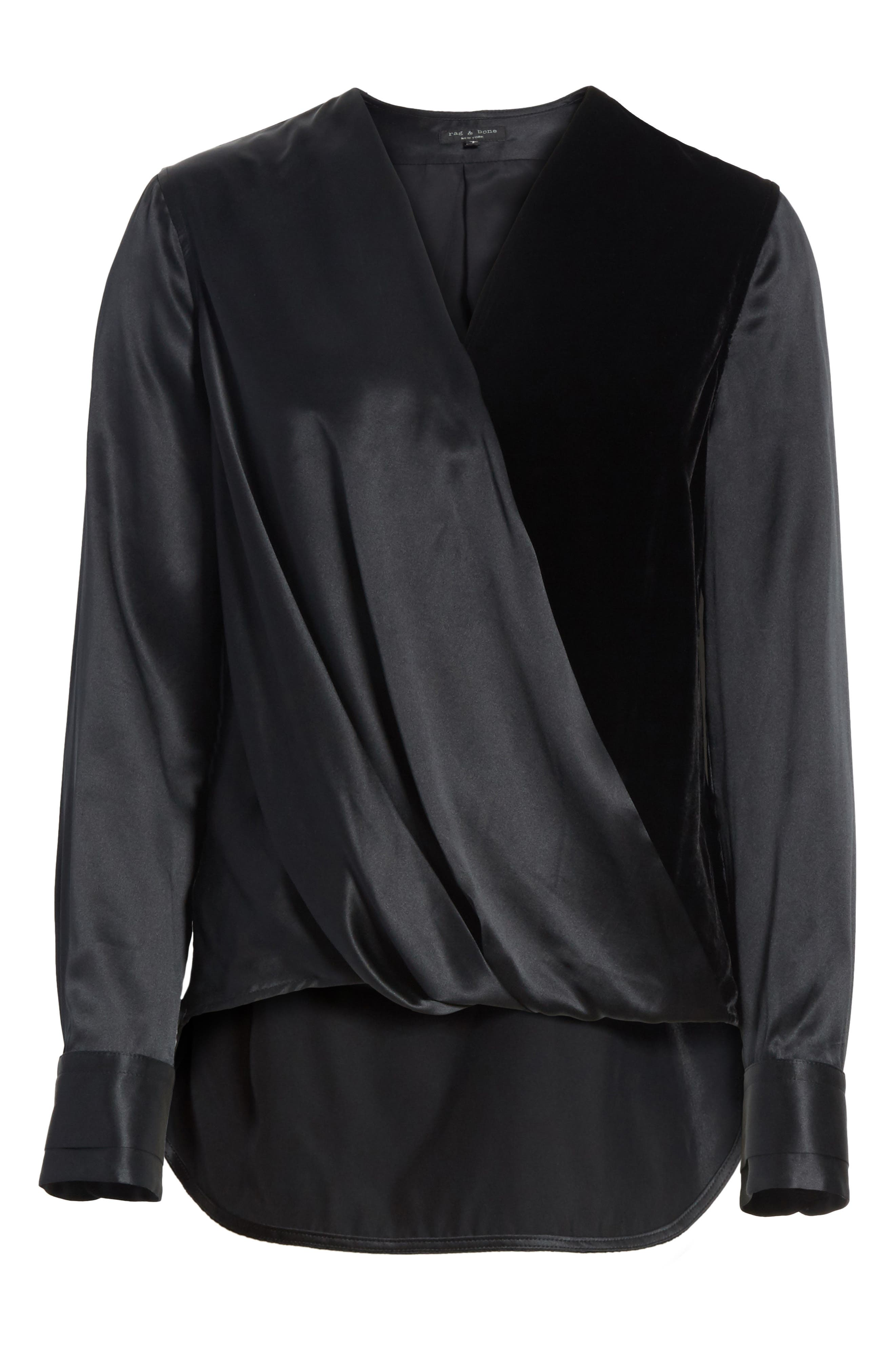 Victor Silk & Velvet Blouse,                             Alternate thumbnail 6, color,                             Black