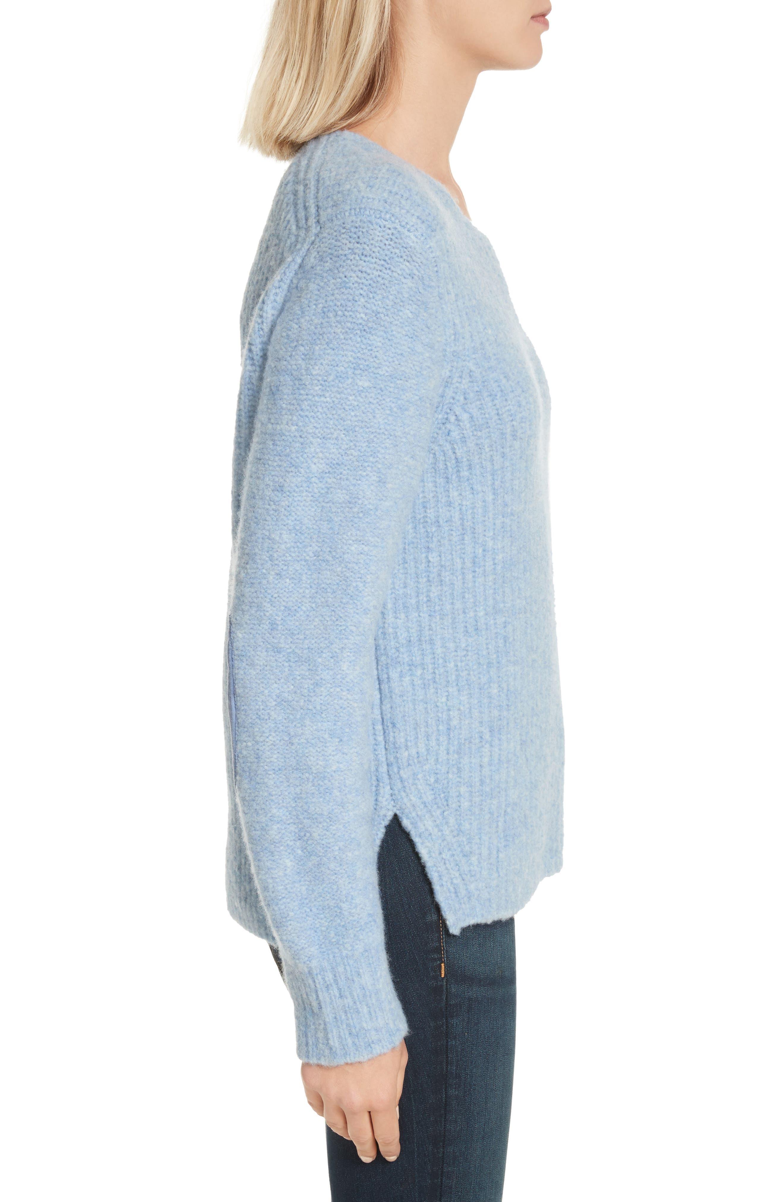 Francie Merino Wool Blend Sweater,                             Alternate thumbnail 3, color,                             Light Blue