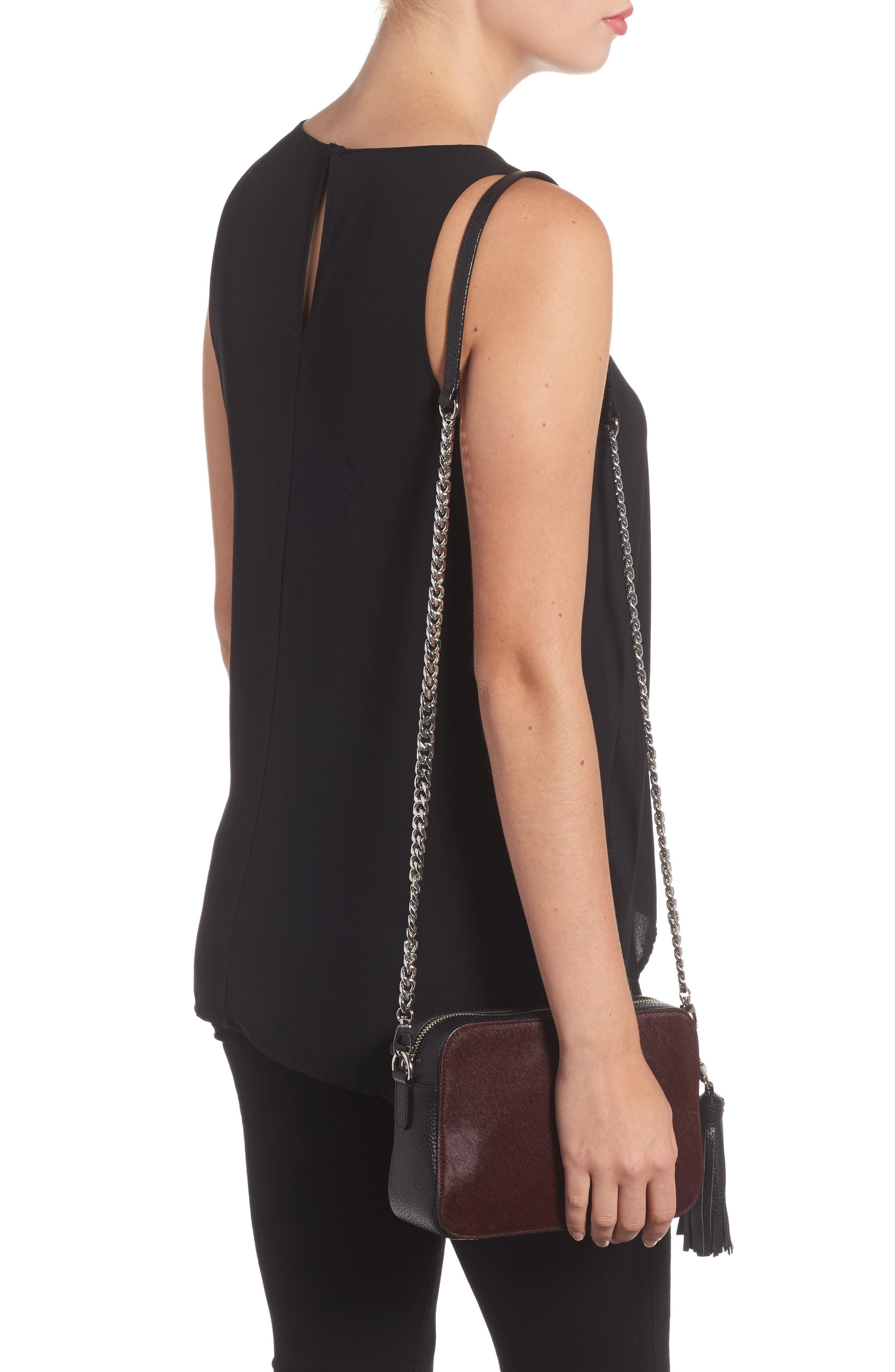 Alternate Image 2  - Nordstrom Ella Leather & Genuine Calf Hair Crossbody Bag