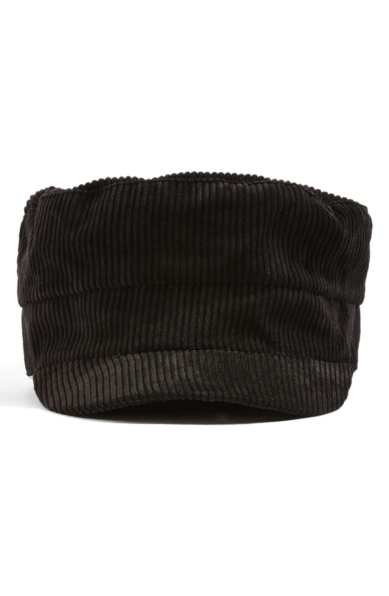 Corduroy Baker Boy Hat,                             Main thumbnail 1, color,                             Black