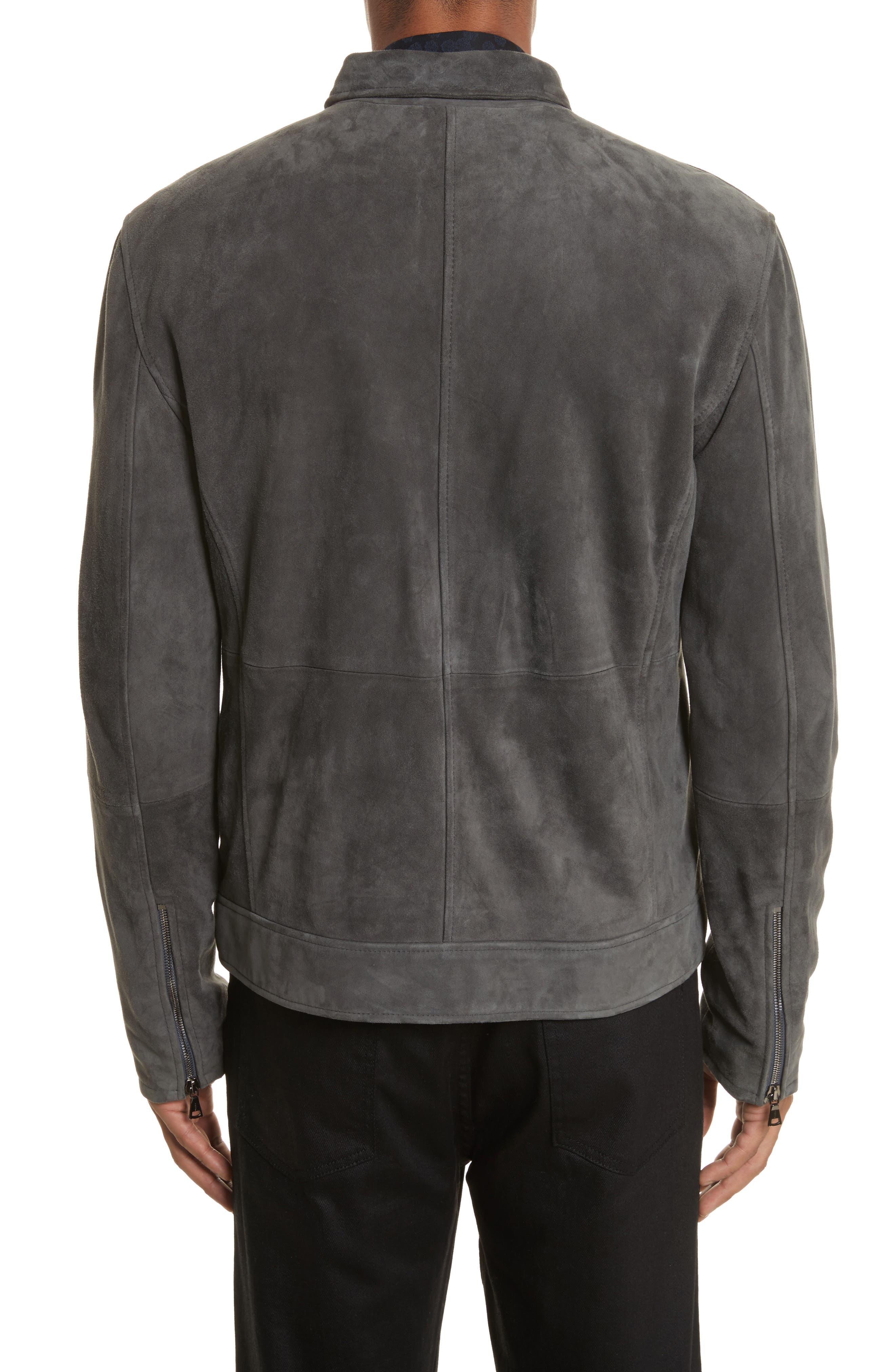 John Varvatos Suede Moto Jacket,                             Alternate thumbnail 2, color,                             Typhon Grey