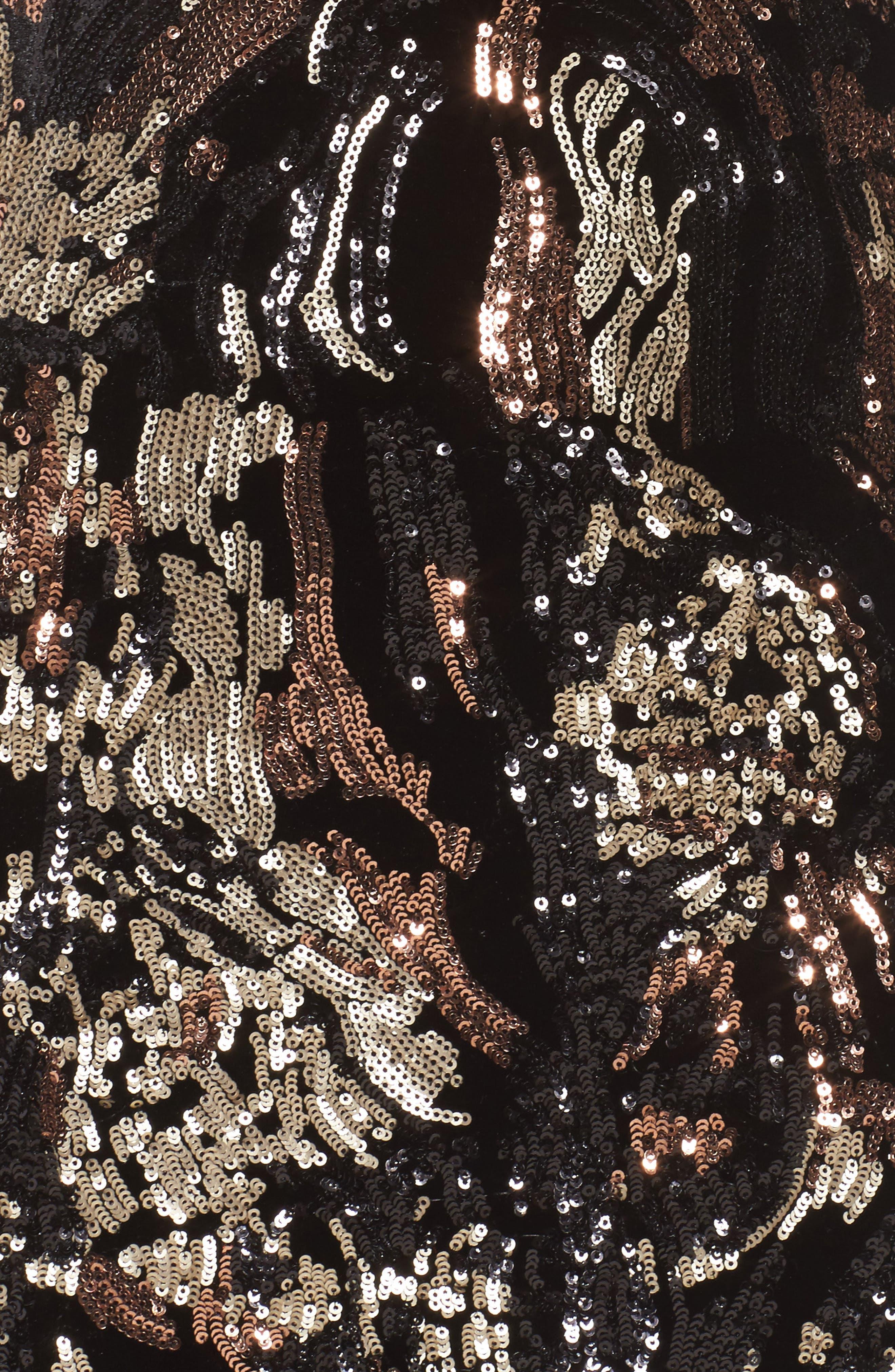 Allison Sequin Velvet Body-Con Dress,                             Alternate thumbnail 6, color,                             Black/ Bronze