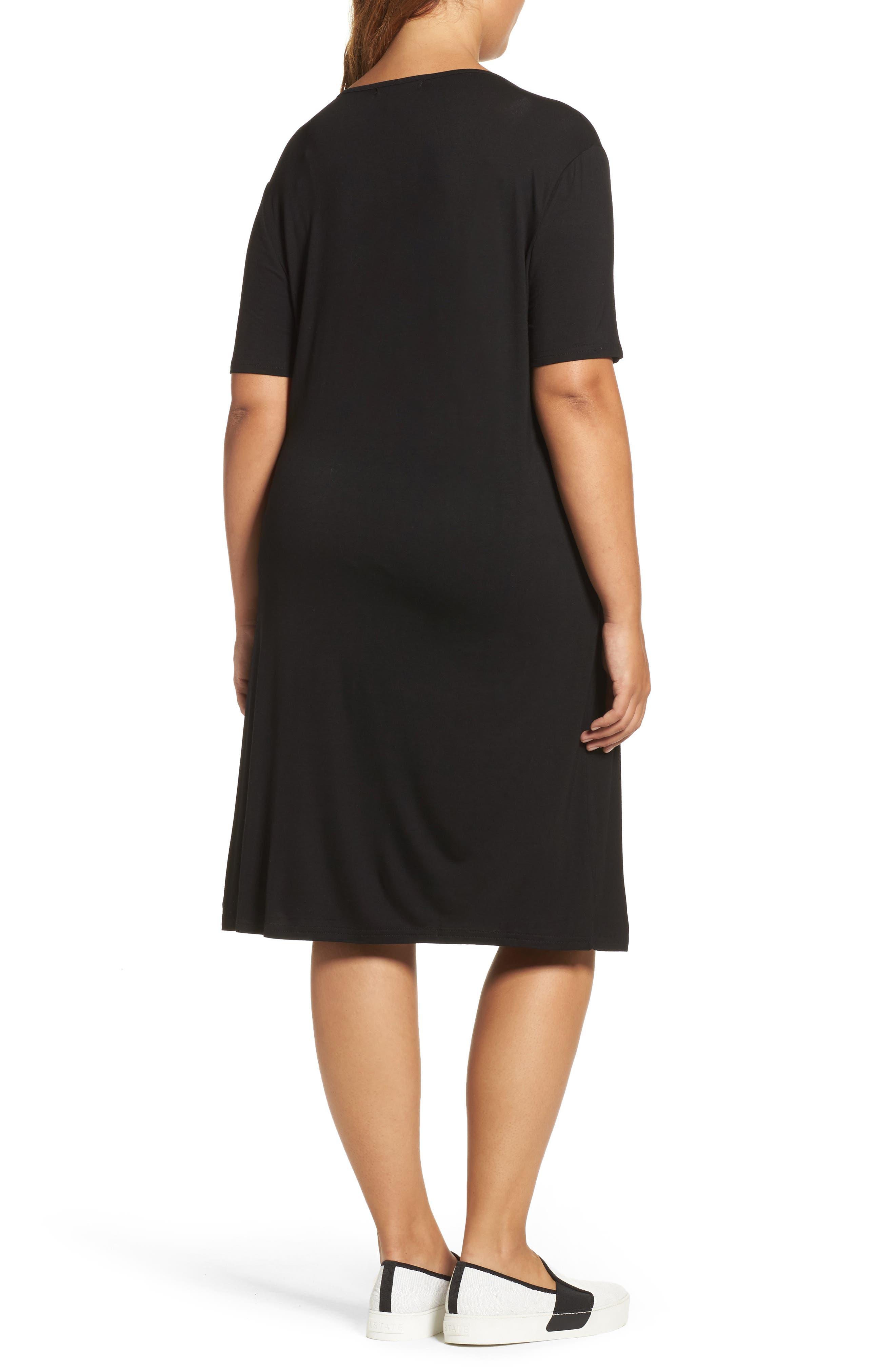 Crisscross Neck T-Shirt Dress,                             Alternate thumbnail 2, color,                             Black
