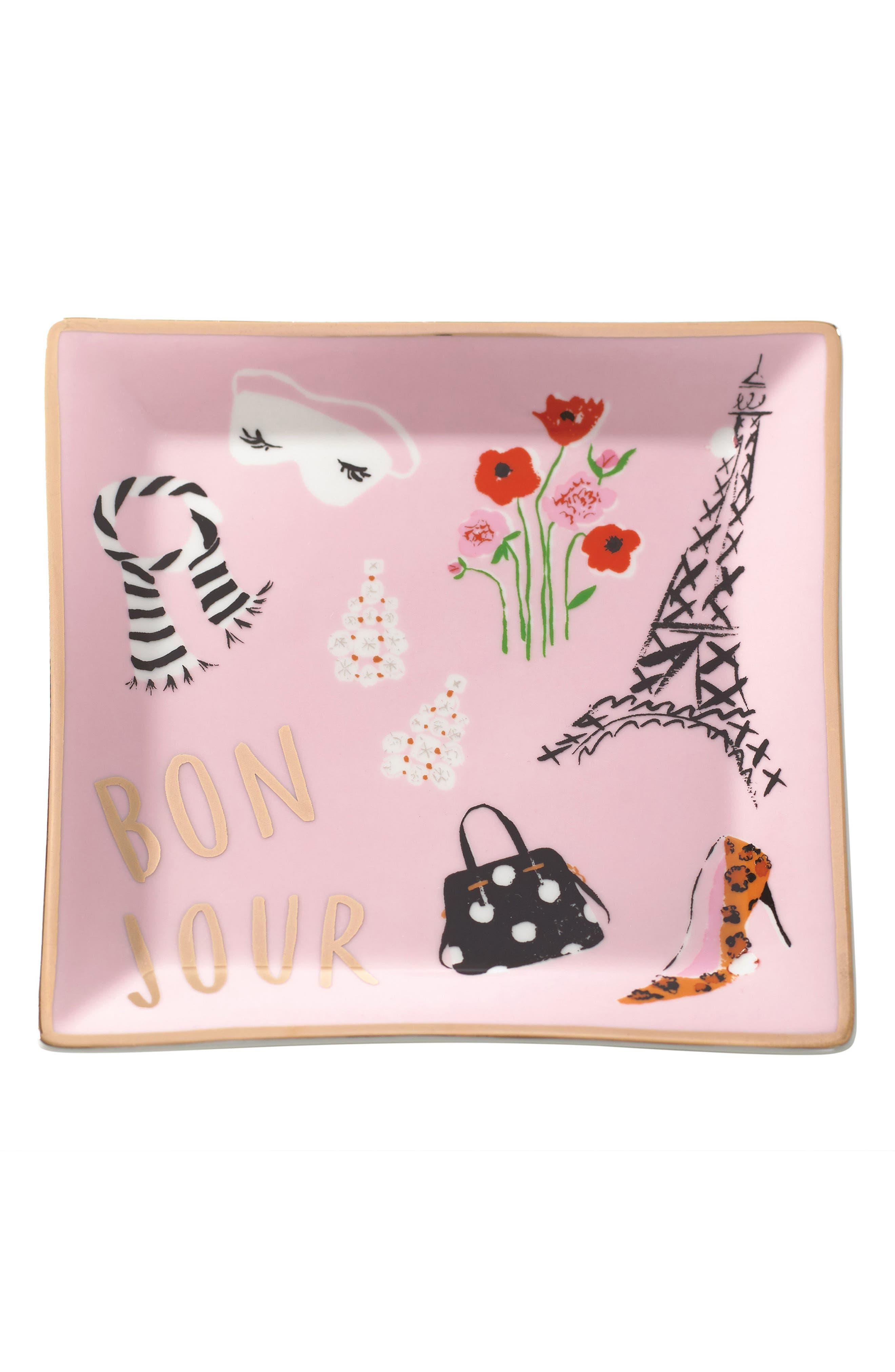 square porcelain trinket tray,                         Main,                         color, Bonjour