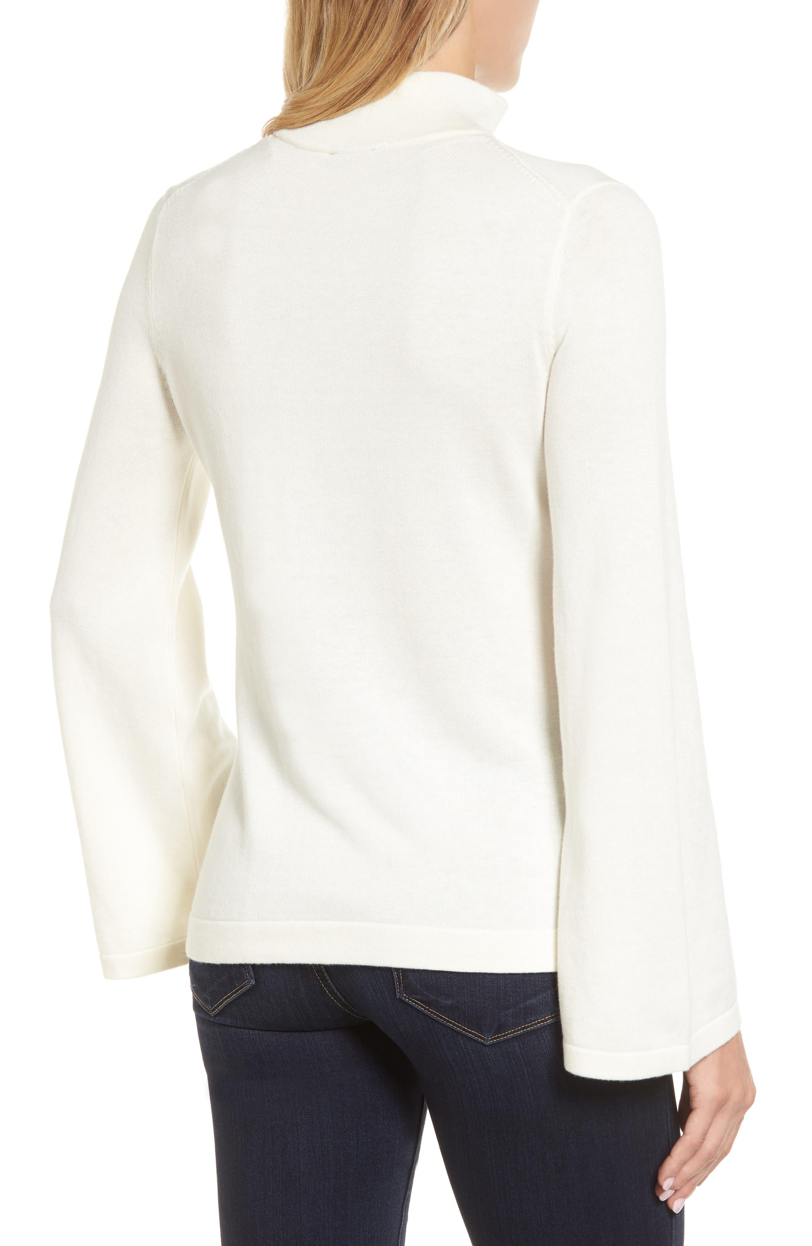 Bell Sleeve Choker Neck Sweater,                             Alternate thumbnail 2, color,                             Antique White