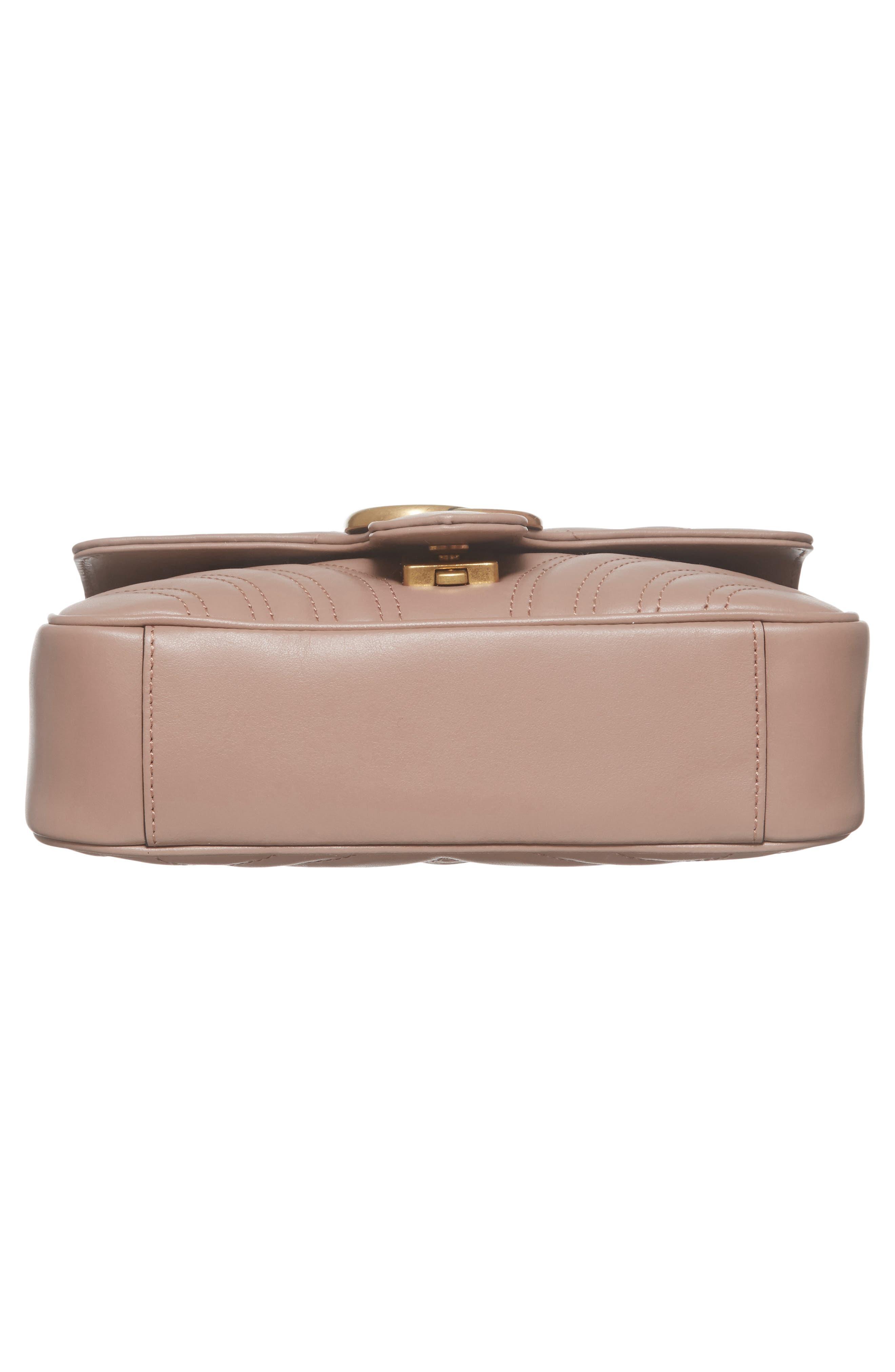 Mini GG Marmont 2.0 Matelassé Leather Shoulder Bag,                             Alternate thumbnail 4, color,                             Porcelain Rose