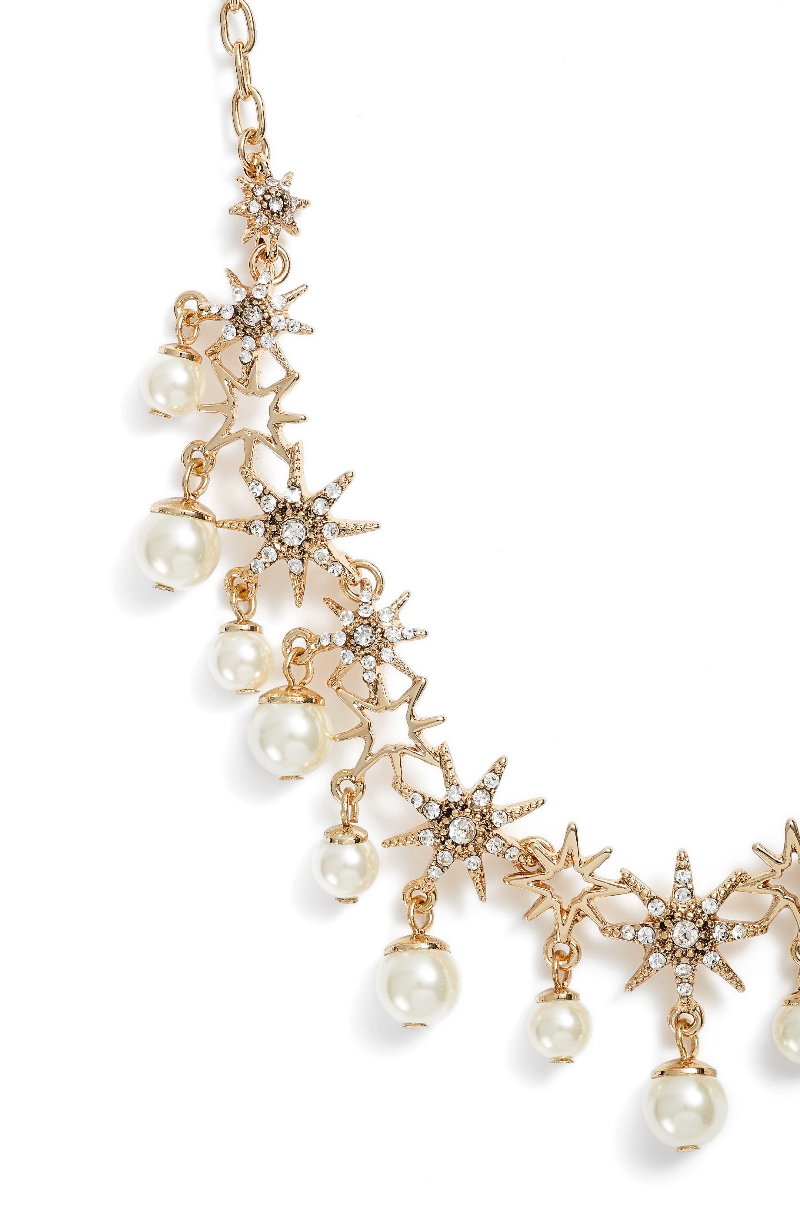 Star Collar Necklace,                             Alternate thumbnail 2, color,                             Gold/ Crystal/ Pearl